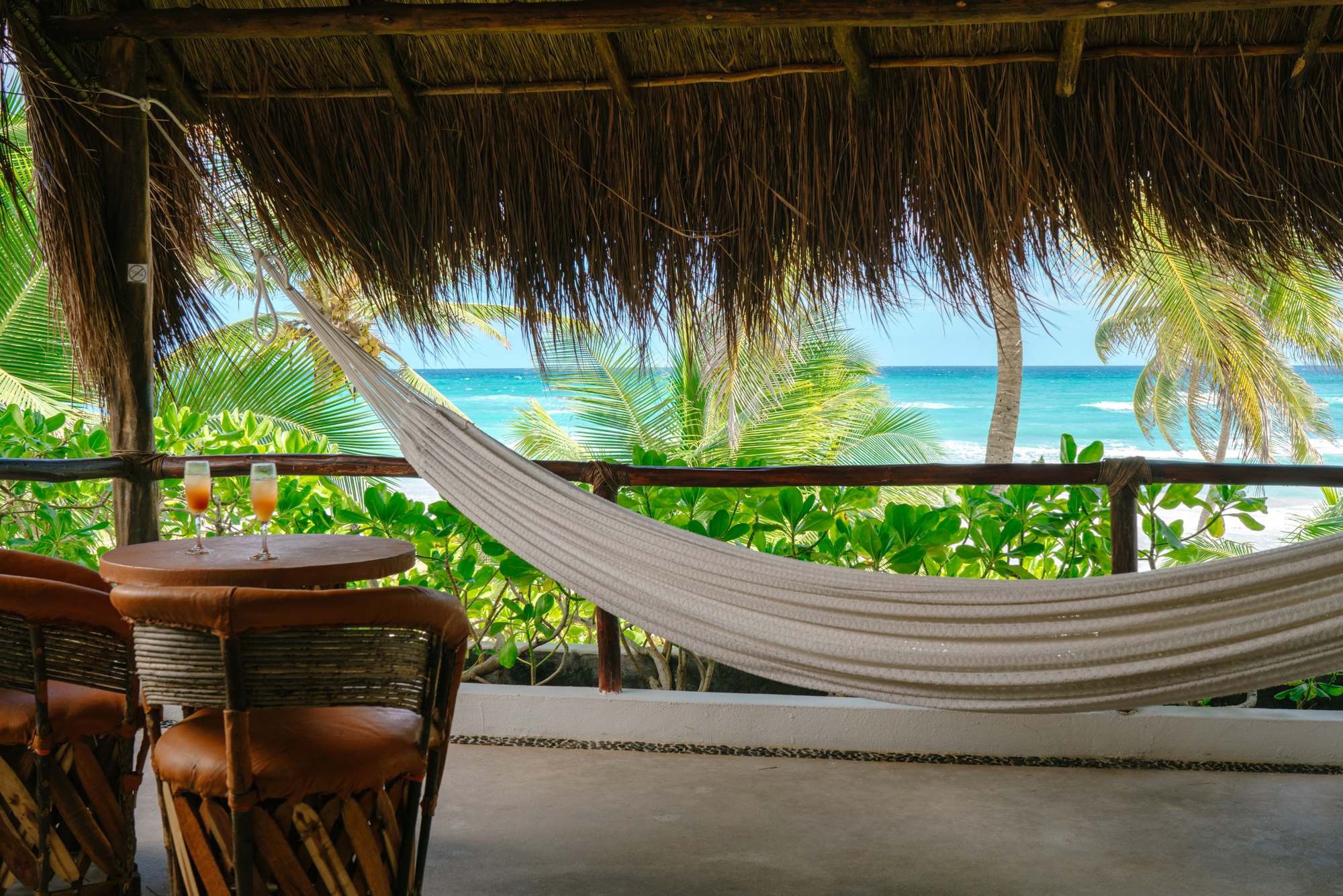Beachfront hammock in Tulum