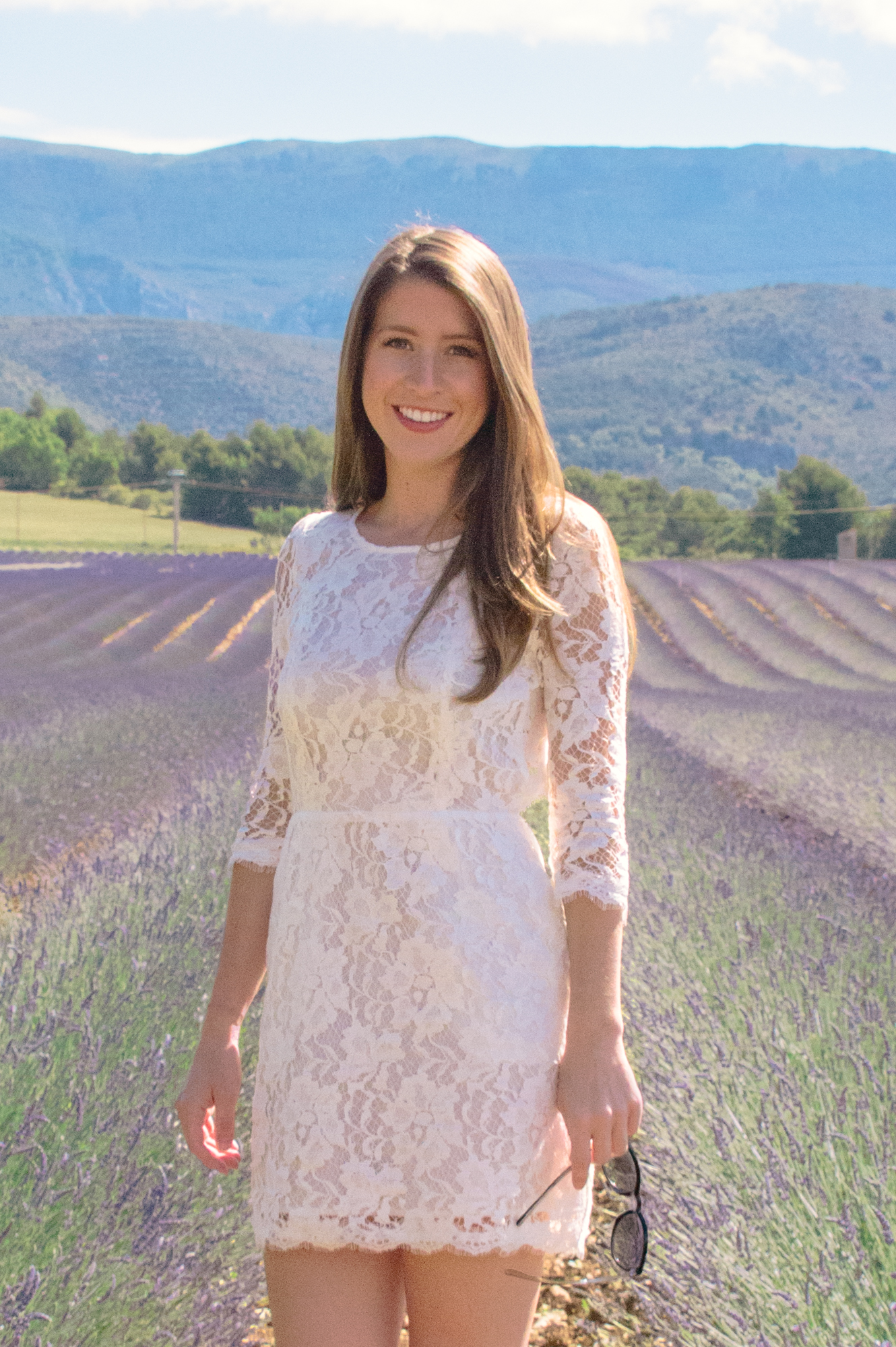 White Lace Dress in the Provence Lavender Fields