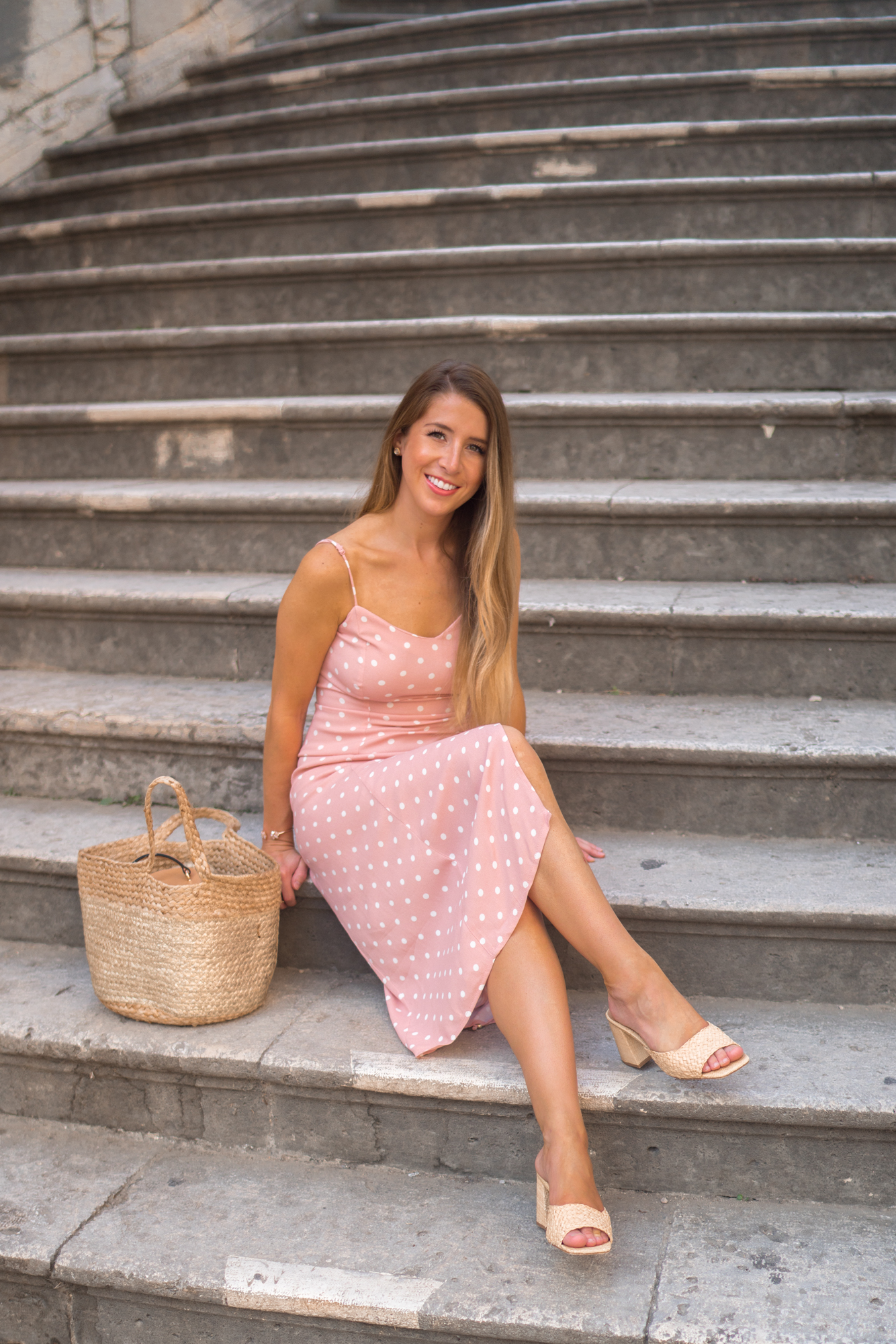 AFRM Pink Polka Dot Dress