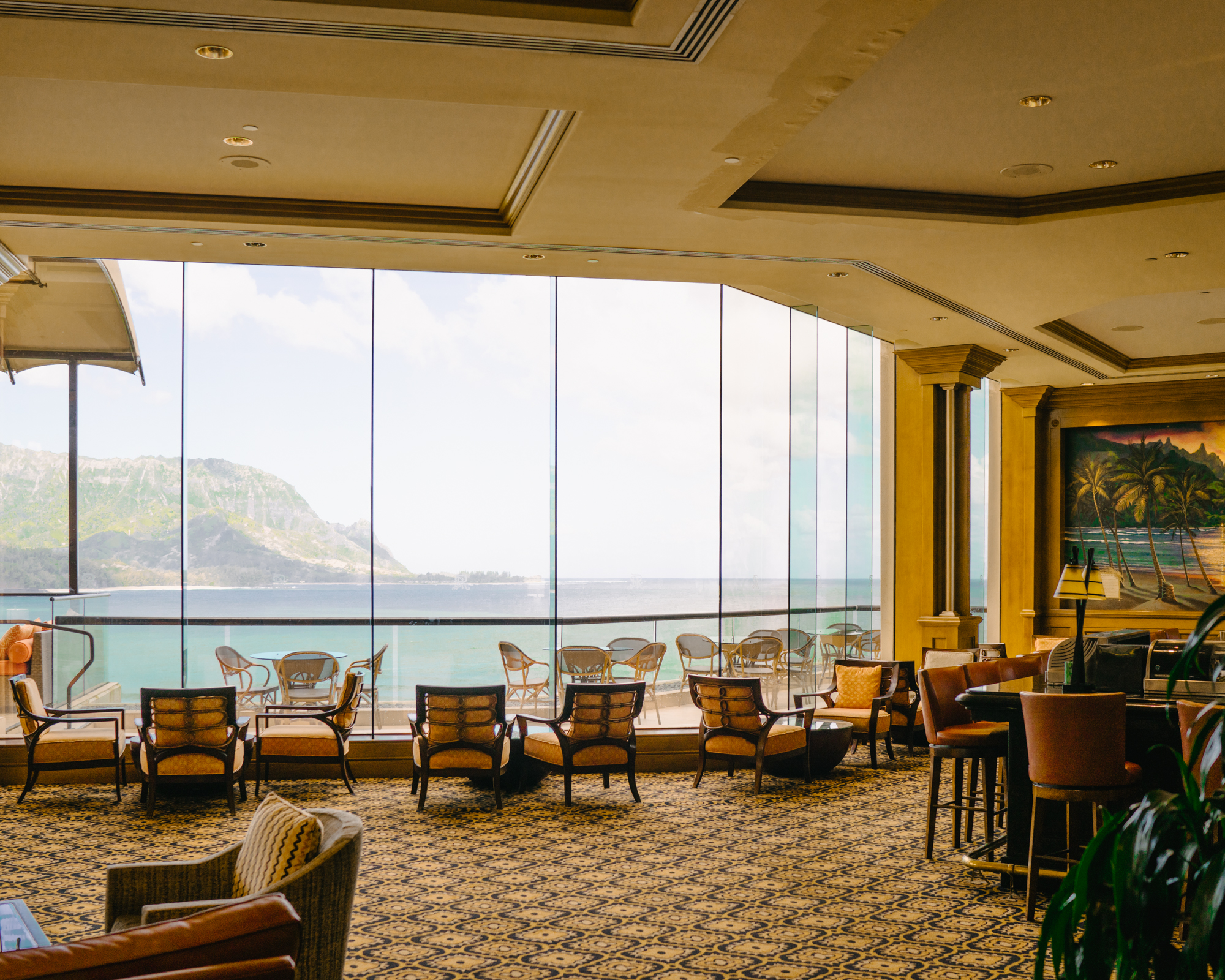 The hotel bar at the St. Regis Princeville in Kauai