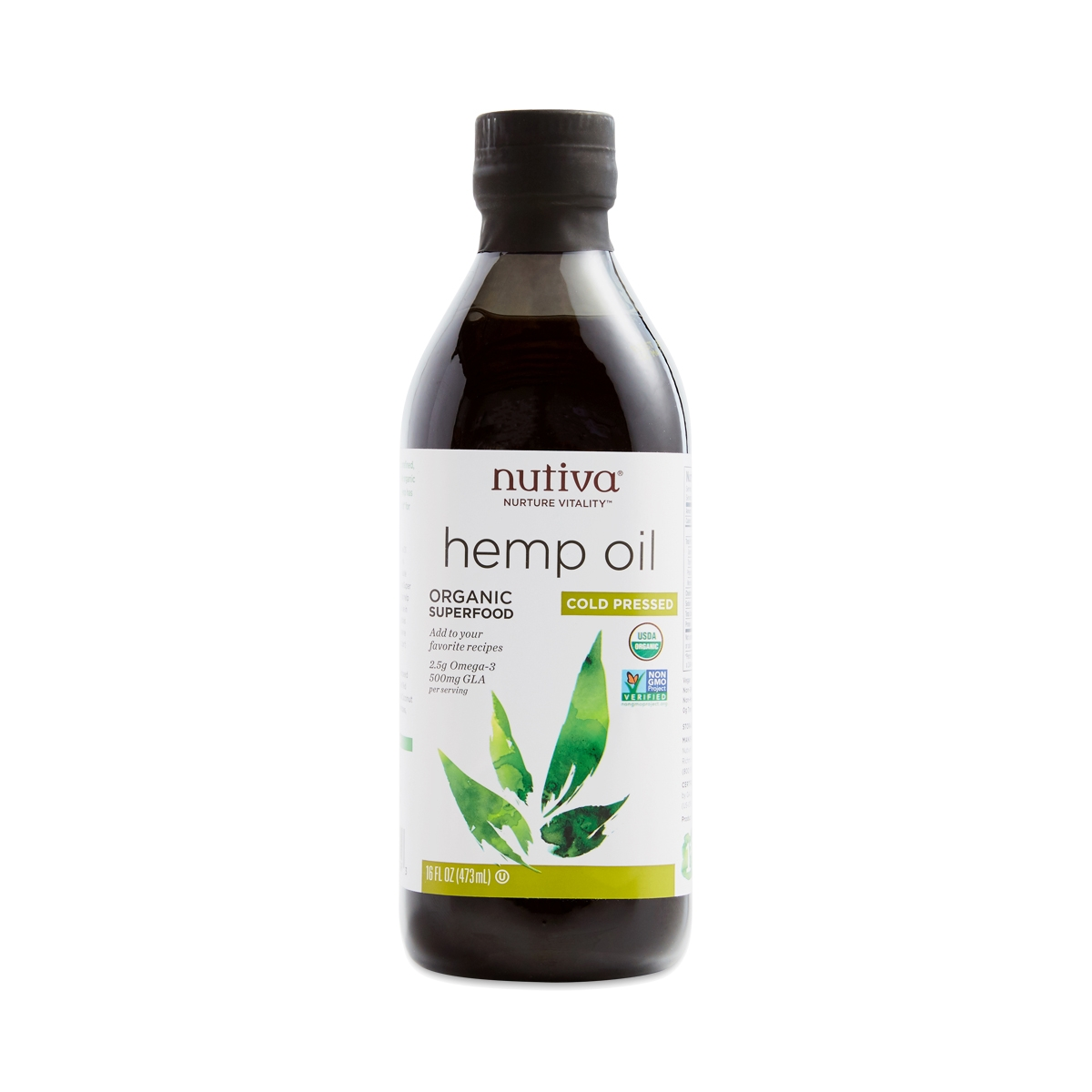 Nutiva Hemp Oil is Organic, Certified Vegan, Non-GMO, Cold-pressed superfood. It has Omega-3s, Omega-6s, and Omega-9s!  1 Tablespoon