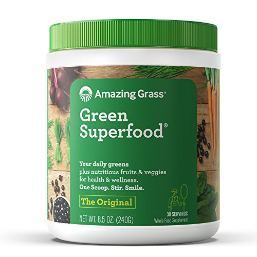 Amazing Grass Green Superfood come in many flavors and are PACKED with vegetables, vitamins and minerals. GF, Sugar Free, Non-GMO, Plant Based. It offers natural energy, aids in digestion, support immunity, and promotes detox.  1 Scoop
