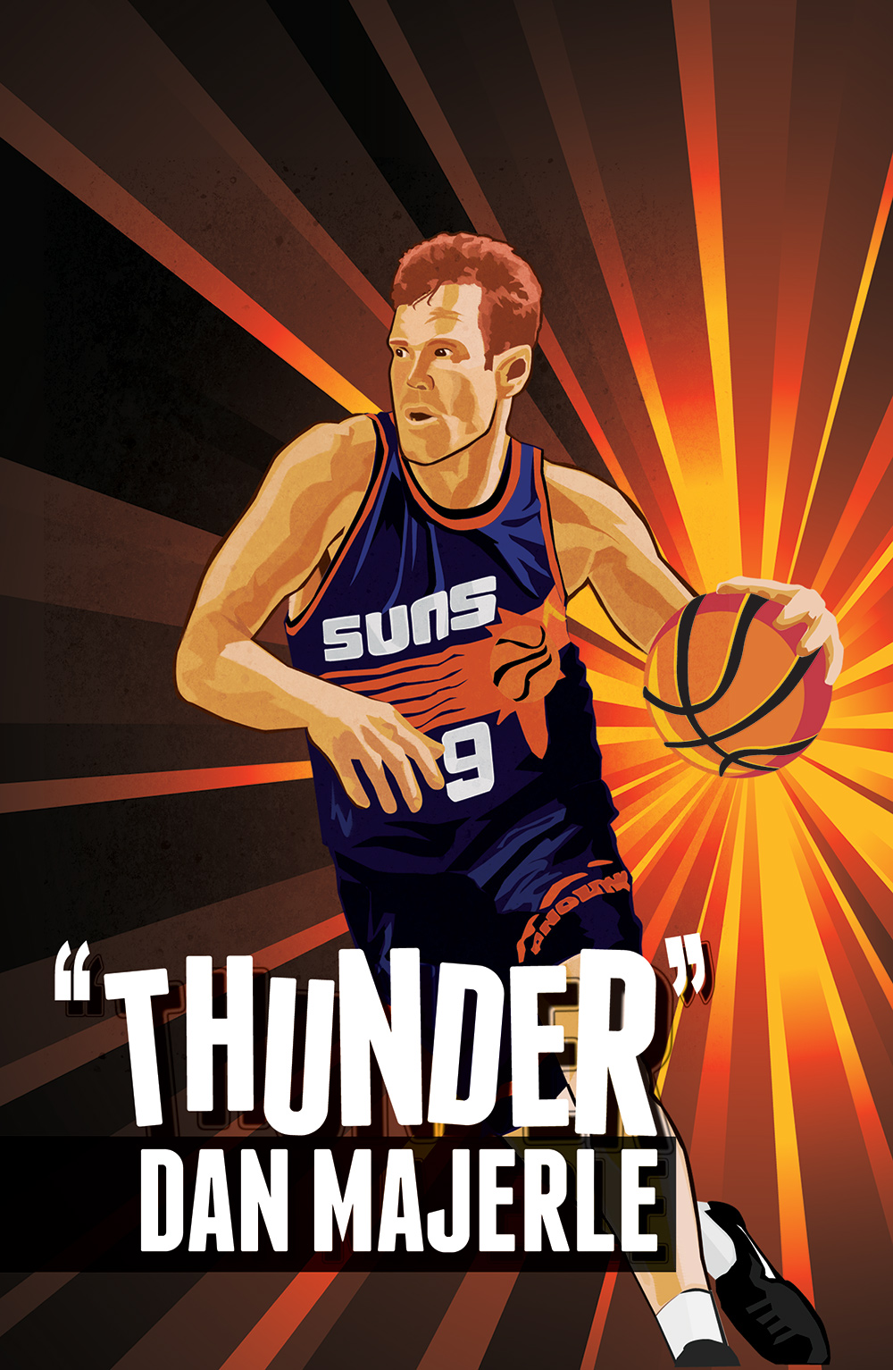 """Illustration printed on the cover of  Phoenix Suns """"Free Throw"""" magazine"""