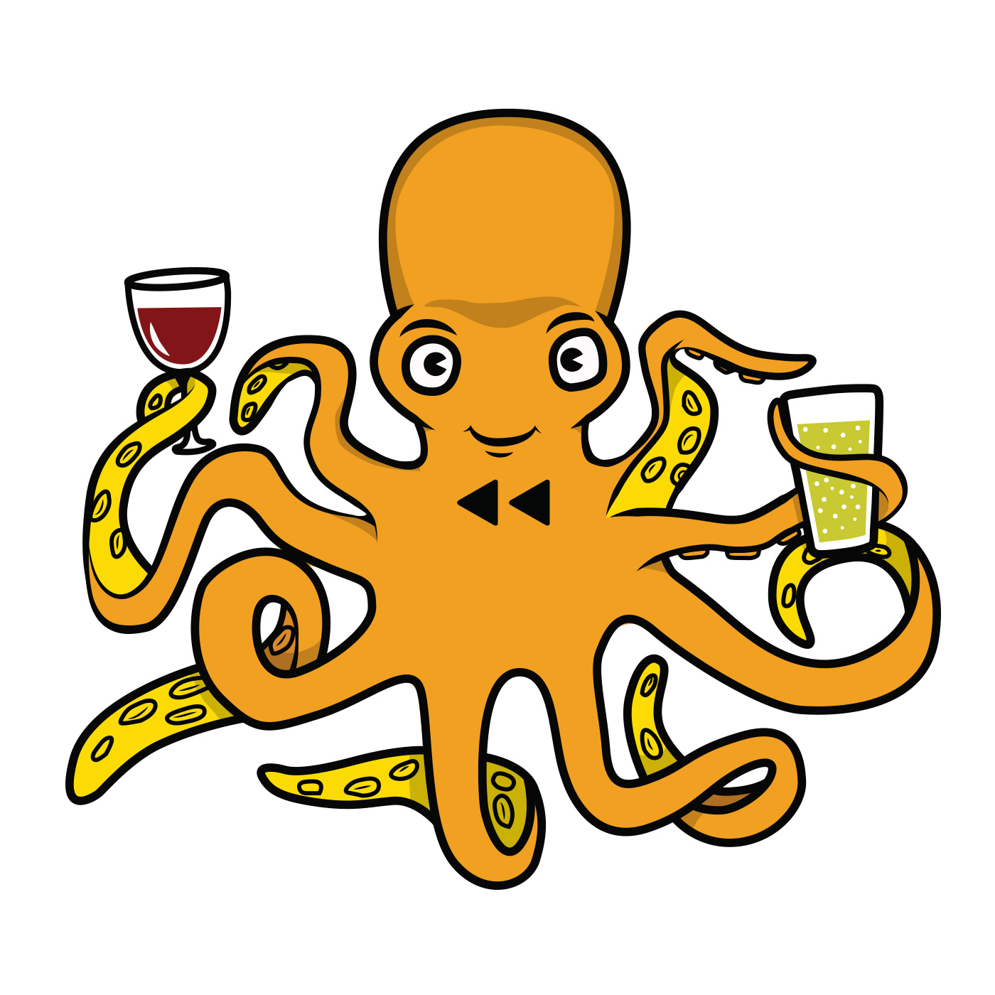 Octopus mascot illustration for  Rewined Beer & Wine Bar