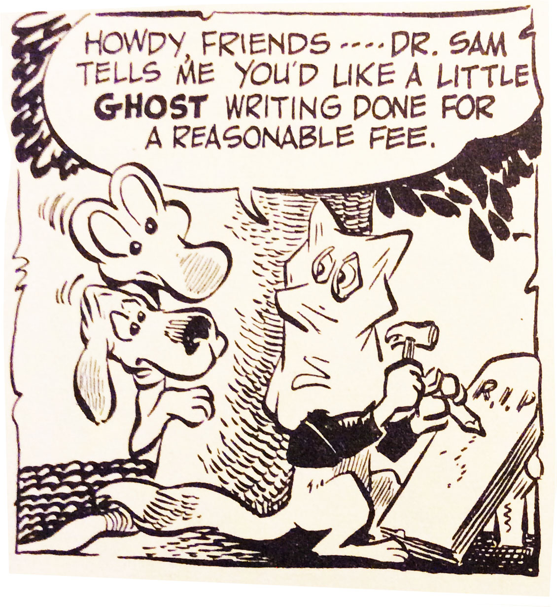 Ghostwriting, as seen by the classic Pogo comic strip.