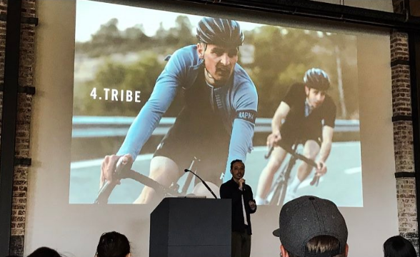 Alex Valdman, Creative Director at  Rapha Racing , giving a presentation on Designing Experiences | Photo Cred: James Buckroyd