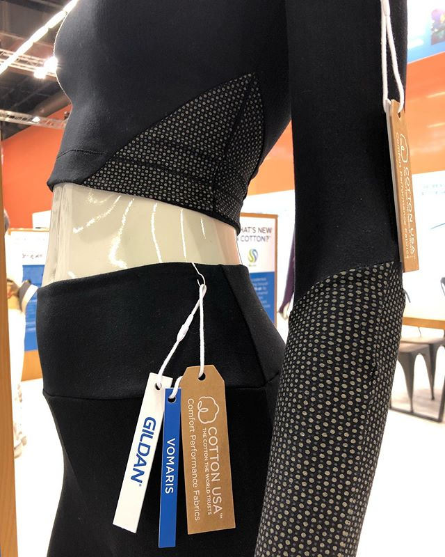 Close up of the What's New In Cotton collaboration between CottonUSA and Vomaris. Base layer cotton/spandex  blend with printed microcell batteries. #musclerecovery #apparelinnovation #materialscience #whatsnewincotton #vomaris #premierevisionparis