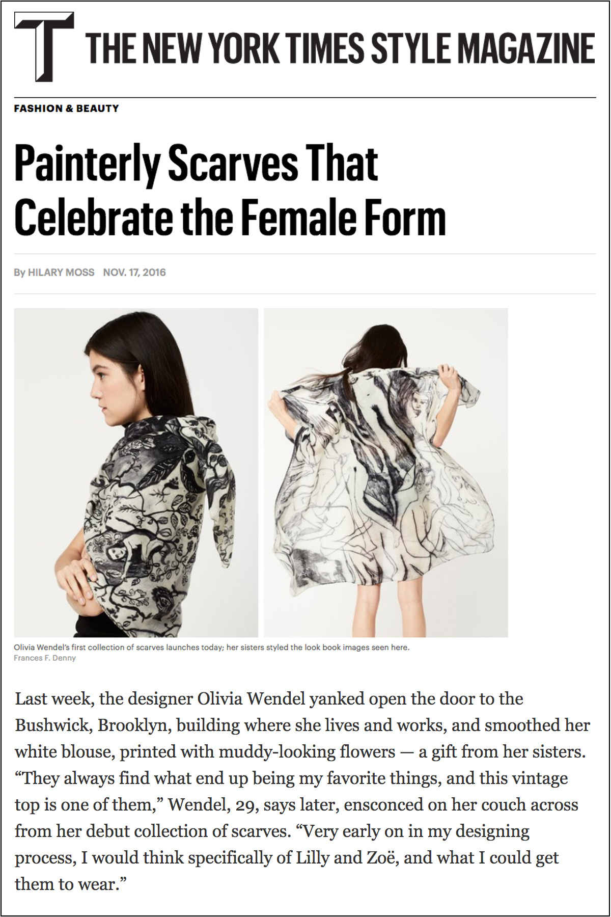 T Magazine: Painterly Scarves That Celebrate the Female Form   November 17, 2016