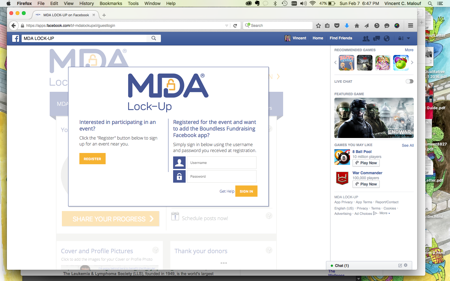 A screenshot of the Boundless Fundraising Facebook app for Muscular Dystrophy Association