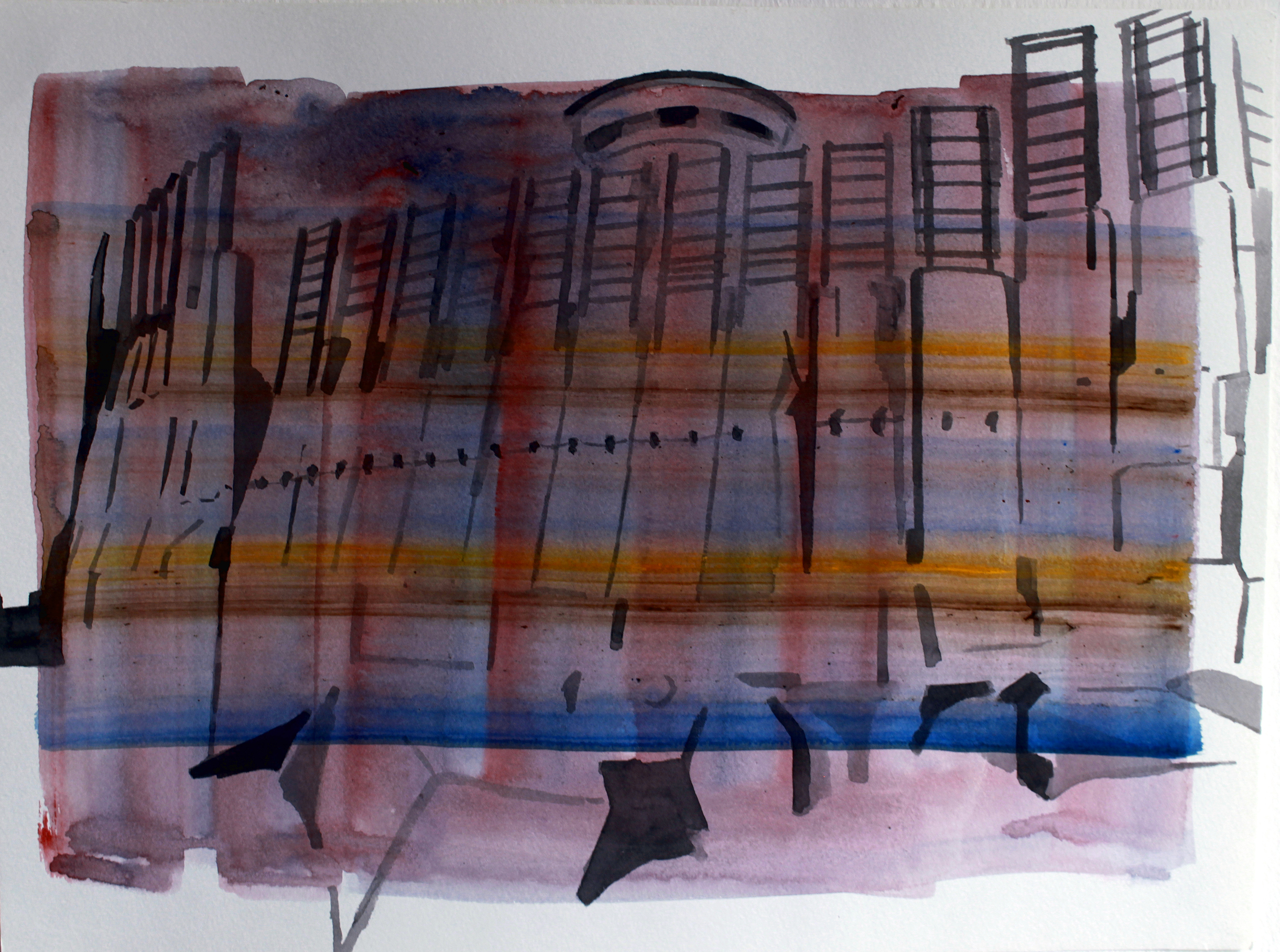 SEPERATION BARRIER, Watercolour on paper, 30.5 x 40.5cm, 2014,