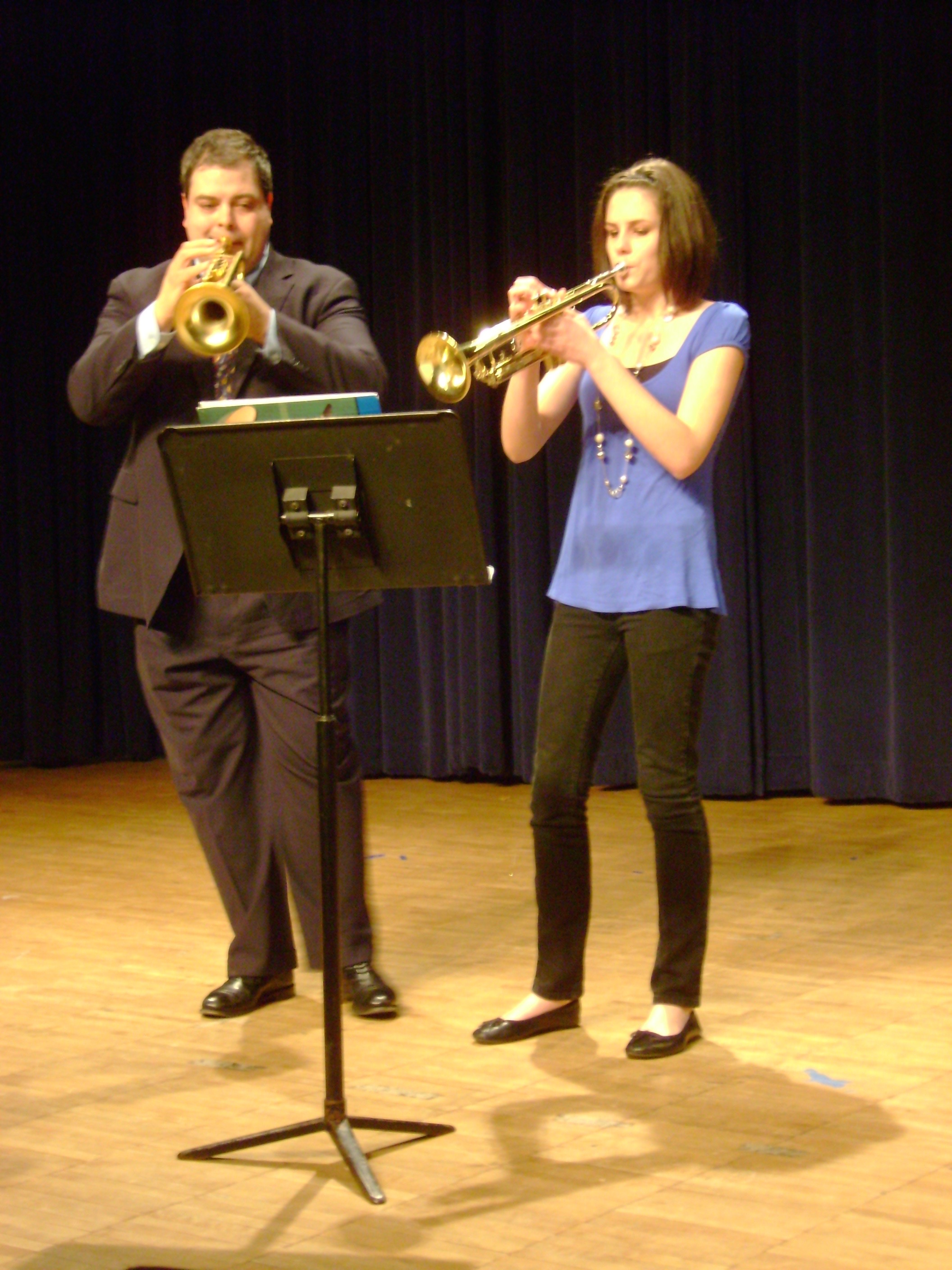 Performing together - James performing with a student during a trumpet studio recital