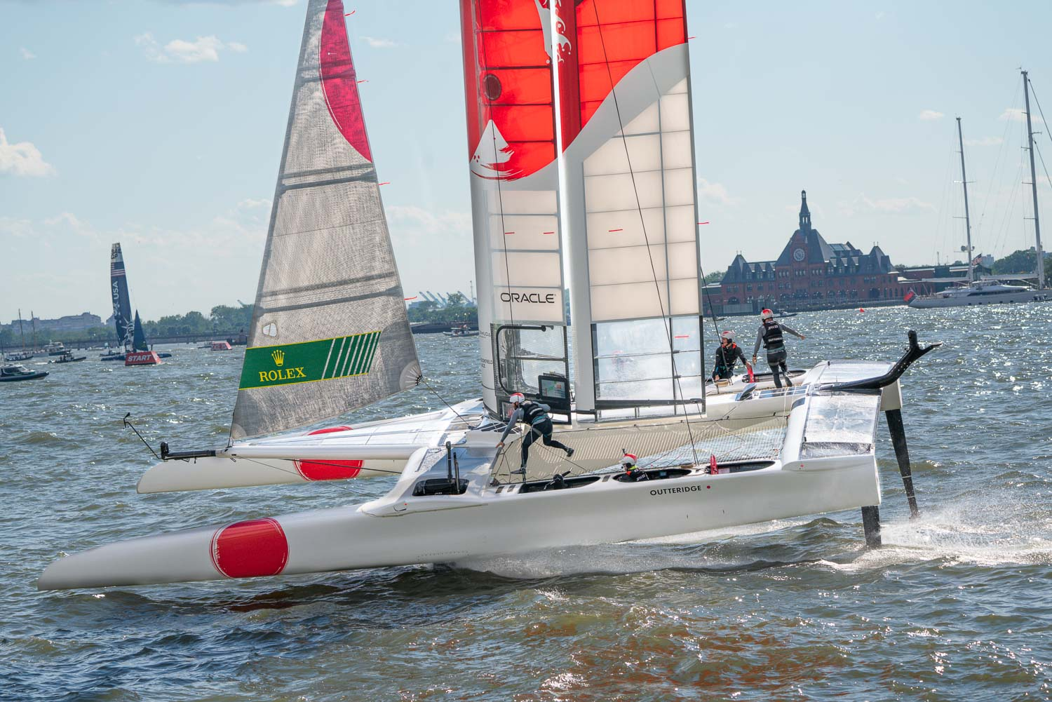 Japan racing in the Sail GP, on the hudson.  Ready to capsize. The crew dance around the deck like ballerinas.jpg