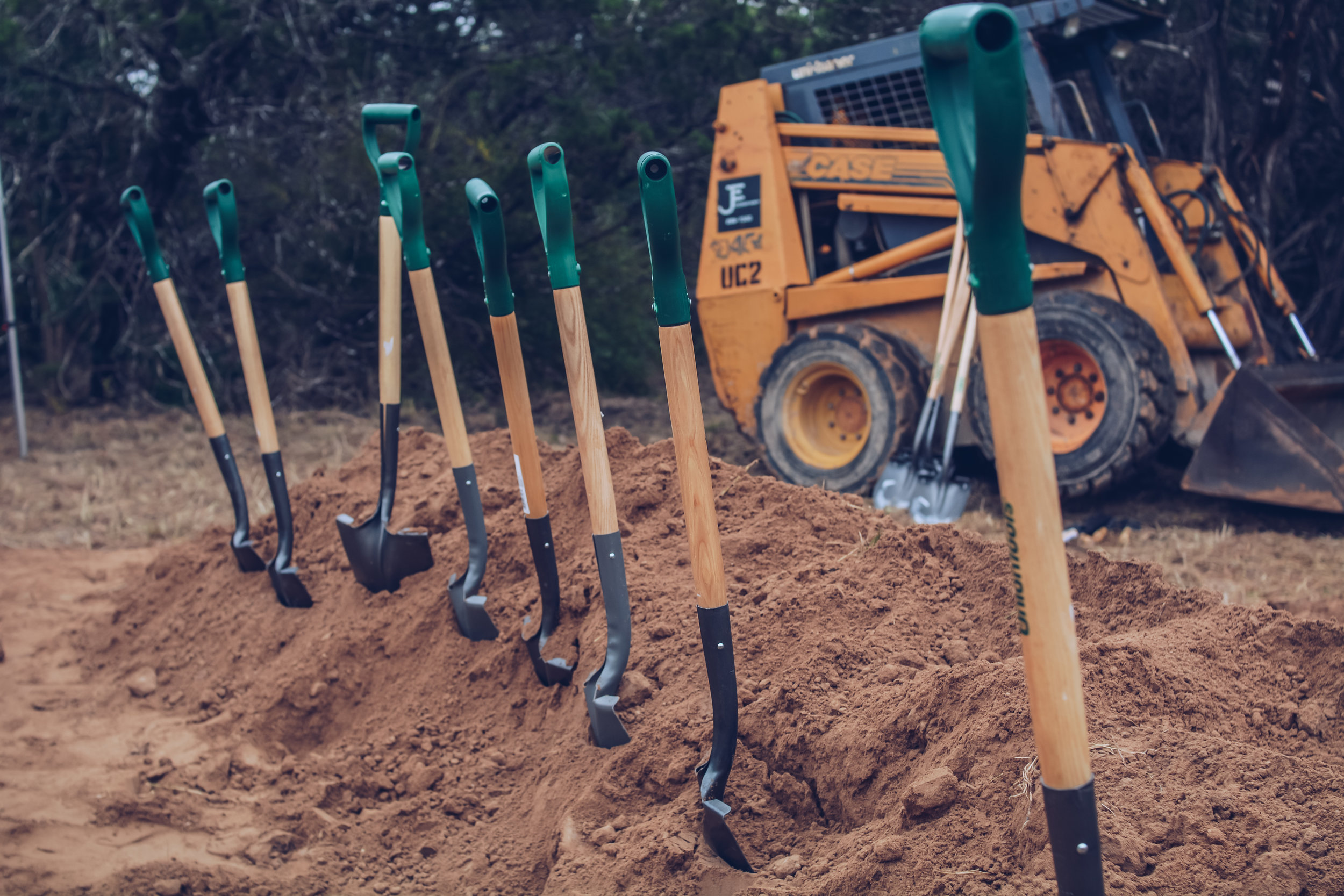 Shovels at the groundbreaking