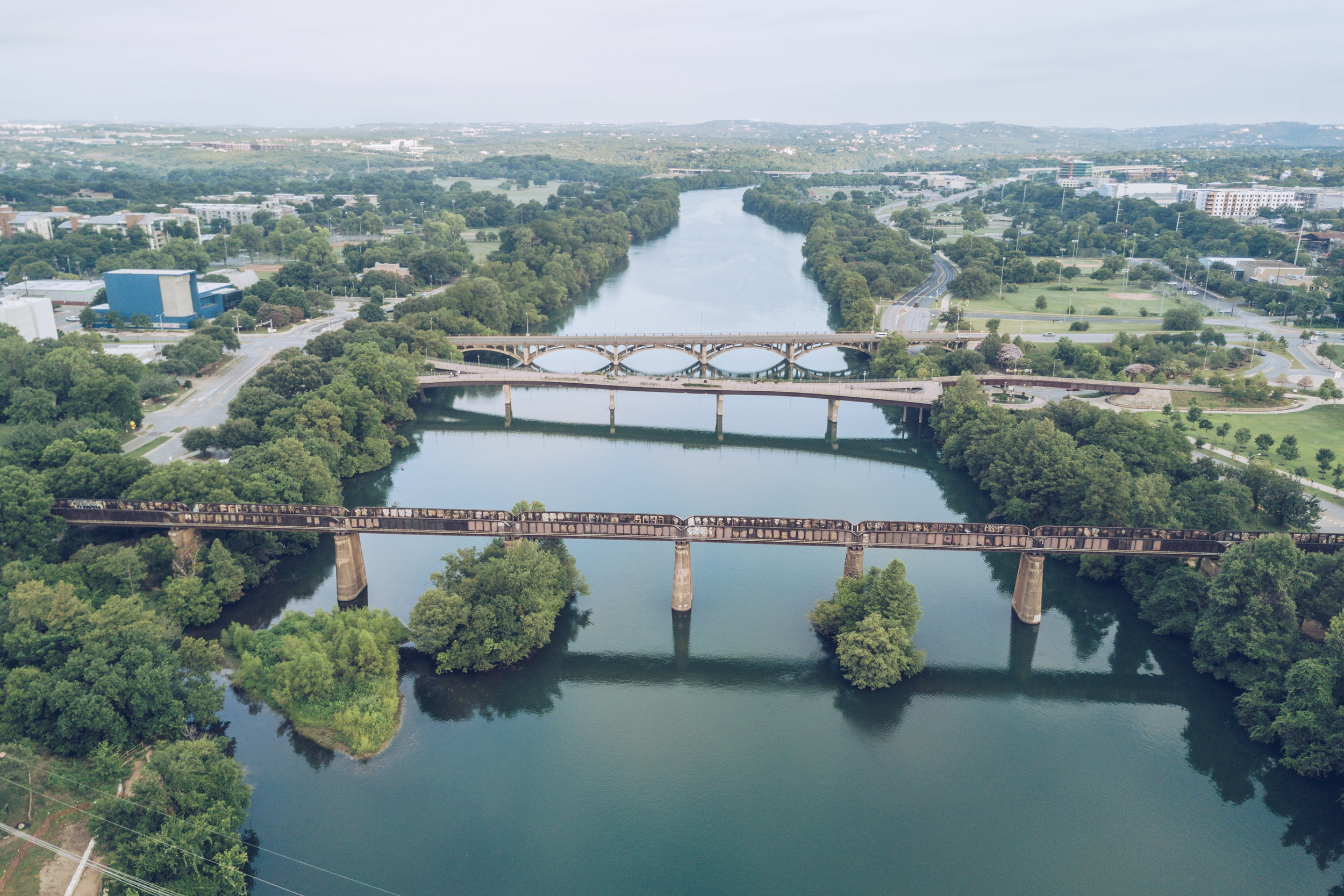 The bridges of Travis County. Views west of downtown Austin.
