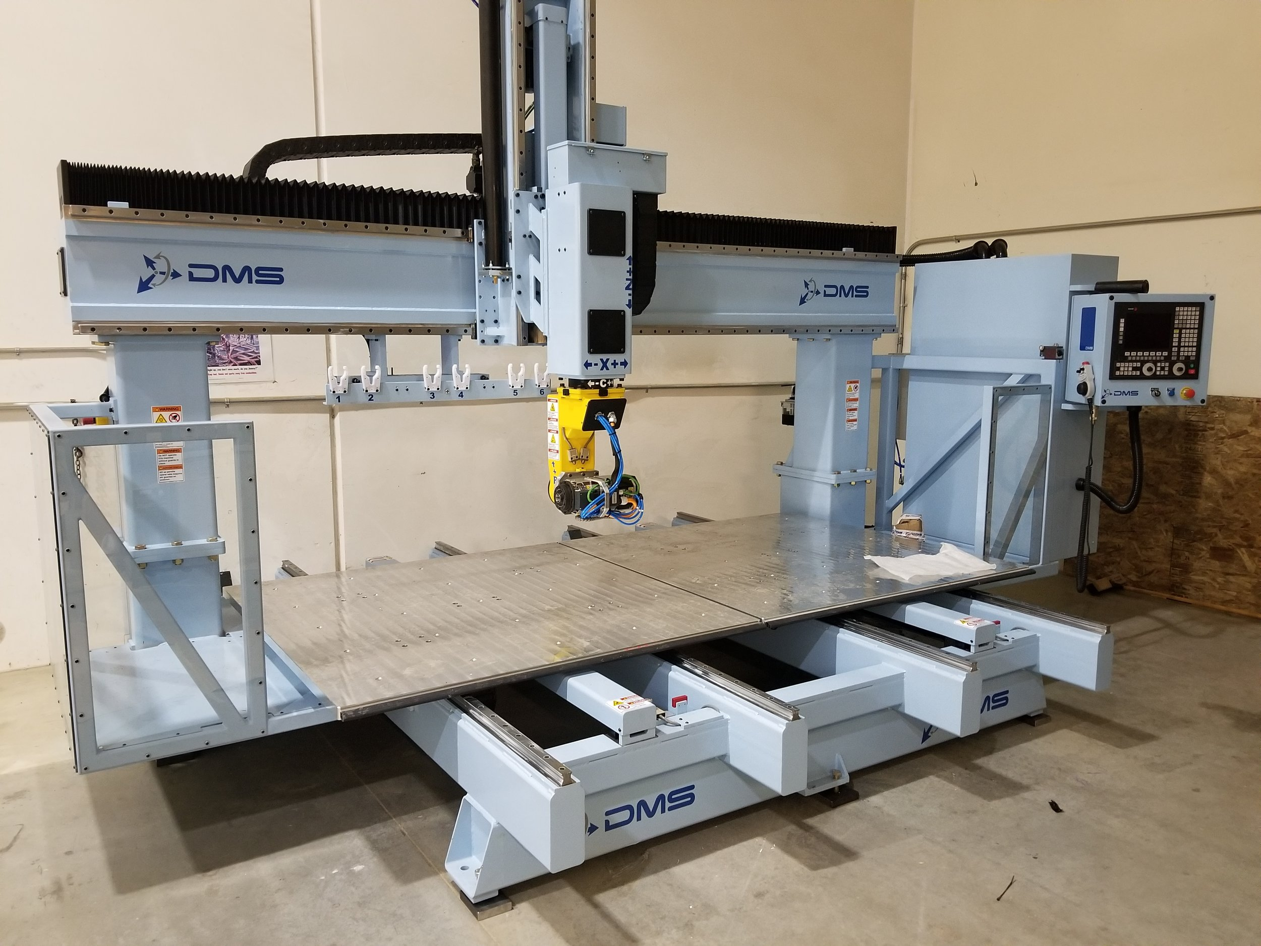 DMS 5-Axis CNC Router - -6ftx3ftx10ft working area-Continuous 5 axis machining-High speed rapid-milling-Tight tolerance (.001) in accuracy