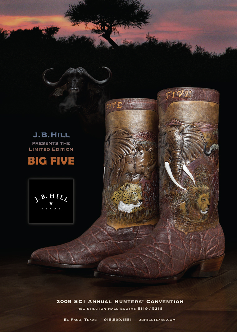 A boot for hunters.  Nothing is scarier than a pissed-off water buffalo in Africa.  Another work of boot art.   Photography Lencho Guerra