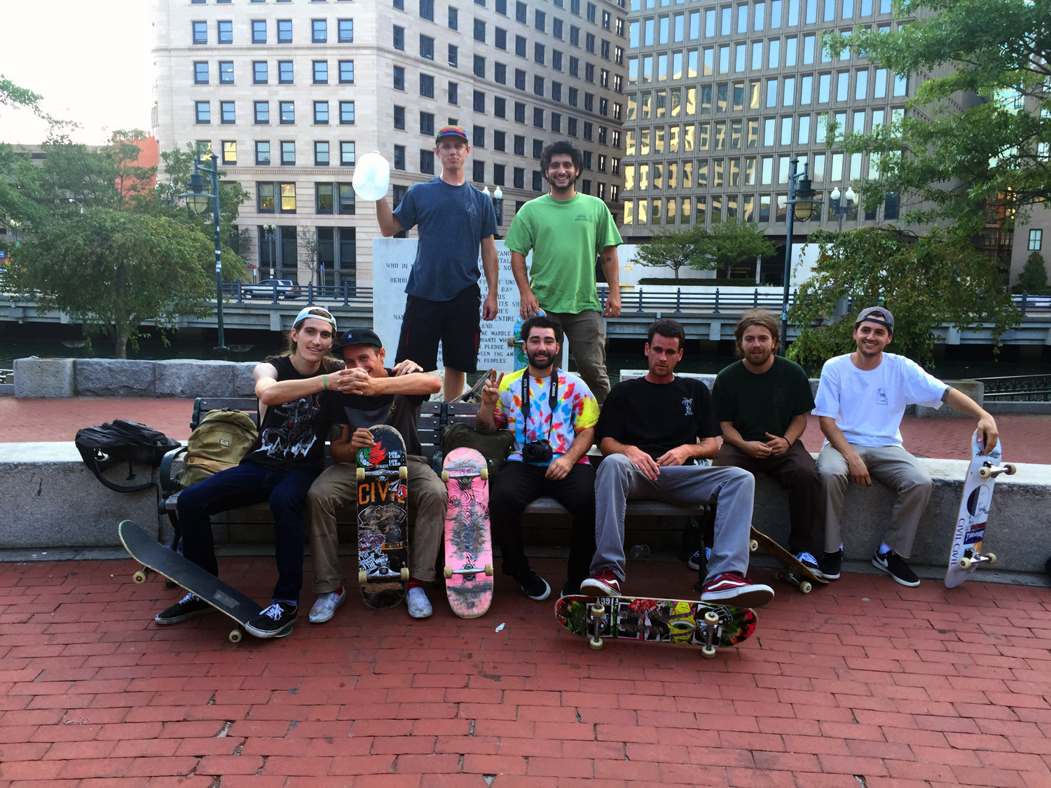 Monument Skate Crew Providence, RI    ©  Jud Burgess 2015    I was sitting at a park with Laurie watching this local skate crew making use of every corner and surface of a massive sculpted monument. Having been a skateboarder myself during the late 70s, connecting with these guys got my blood running again.