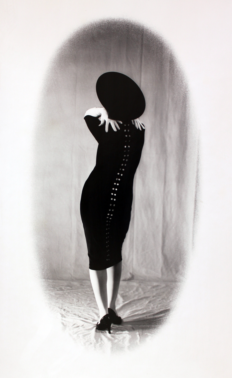 Laurie with Button Dress and Hat   4x5 silver print.  © Jud Burgess 1988