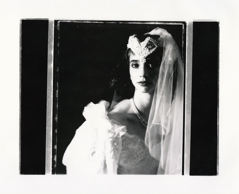 Teresa Wedding Series   Contact print off 4x5 Polaroid test negative.. © Jud Burgess 1989