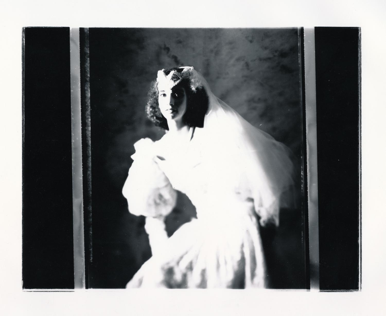 Teresa Wedding Series   Contact print off 4x5 negative. © Jud Burgess 1989