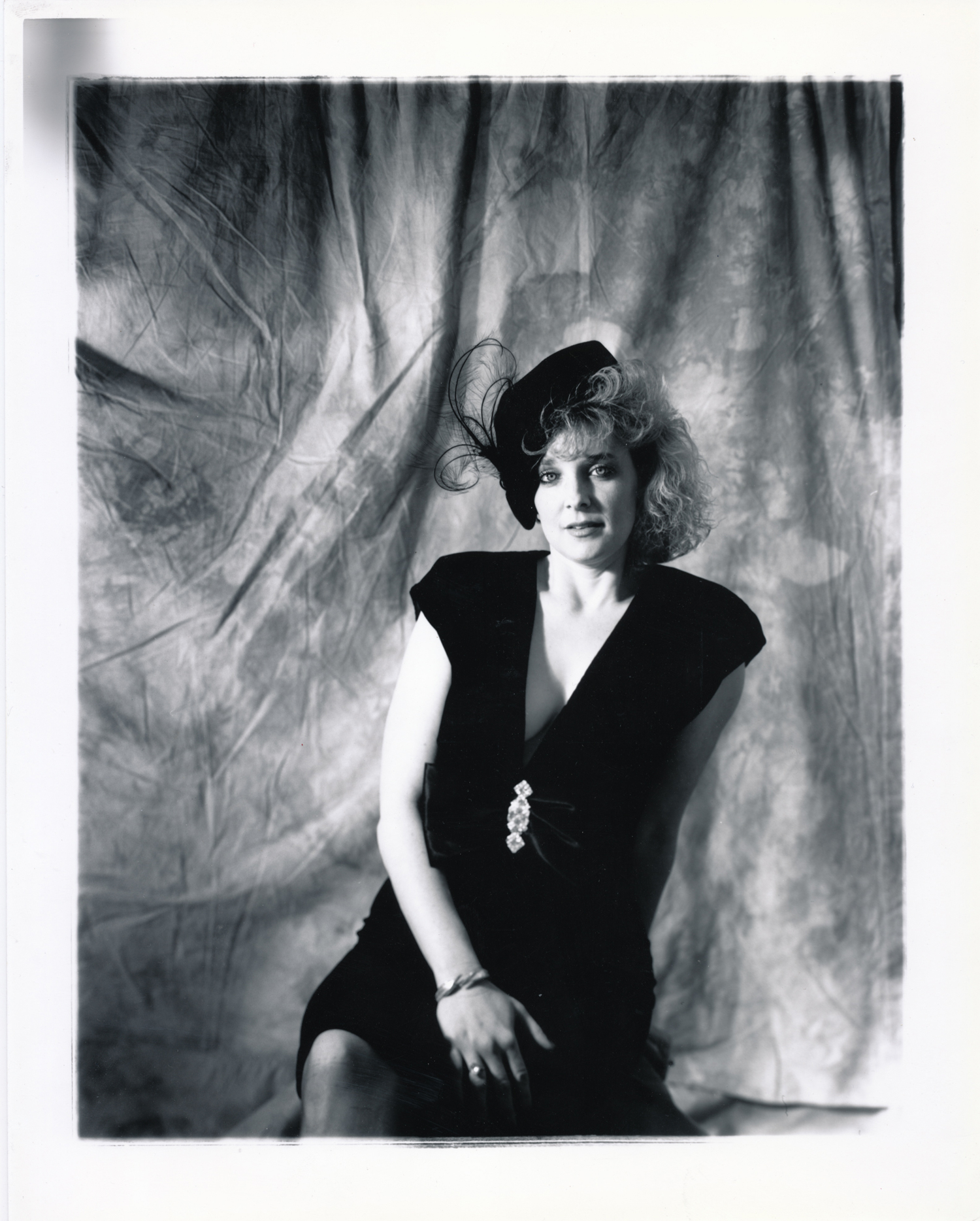 Cindy with Feather Hat   4x5 silver print.  © Jud Burgess  1990