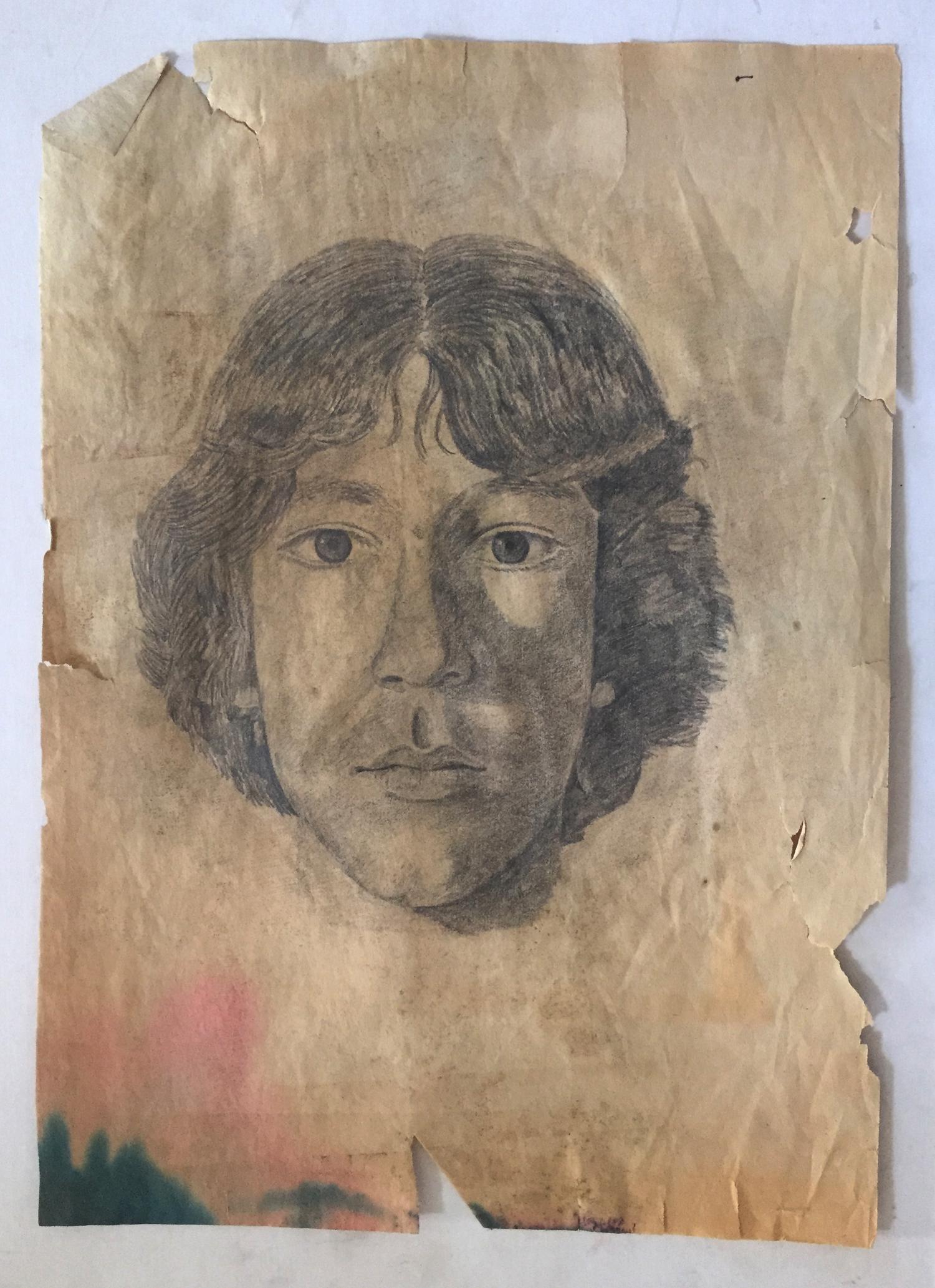 High School Art Class Self Portrait   Pencil on paper. © Jud Burgess 1977