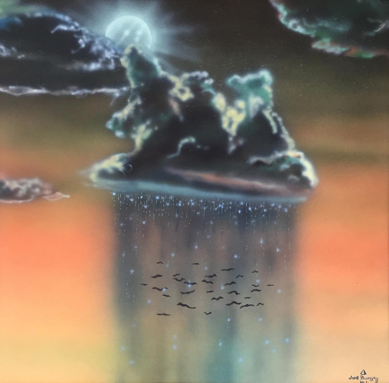 Bat Flight   Airbrush enamels on coldpress board  © Jud Burgess 1980