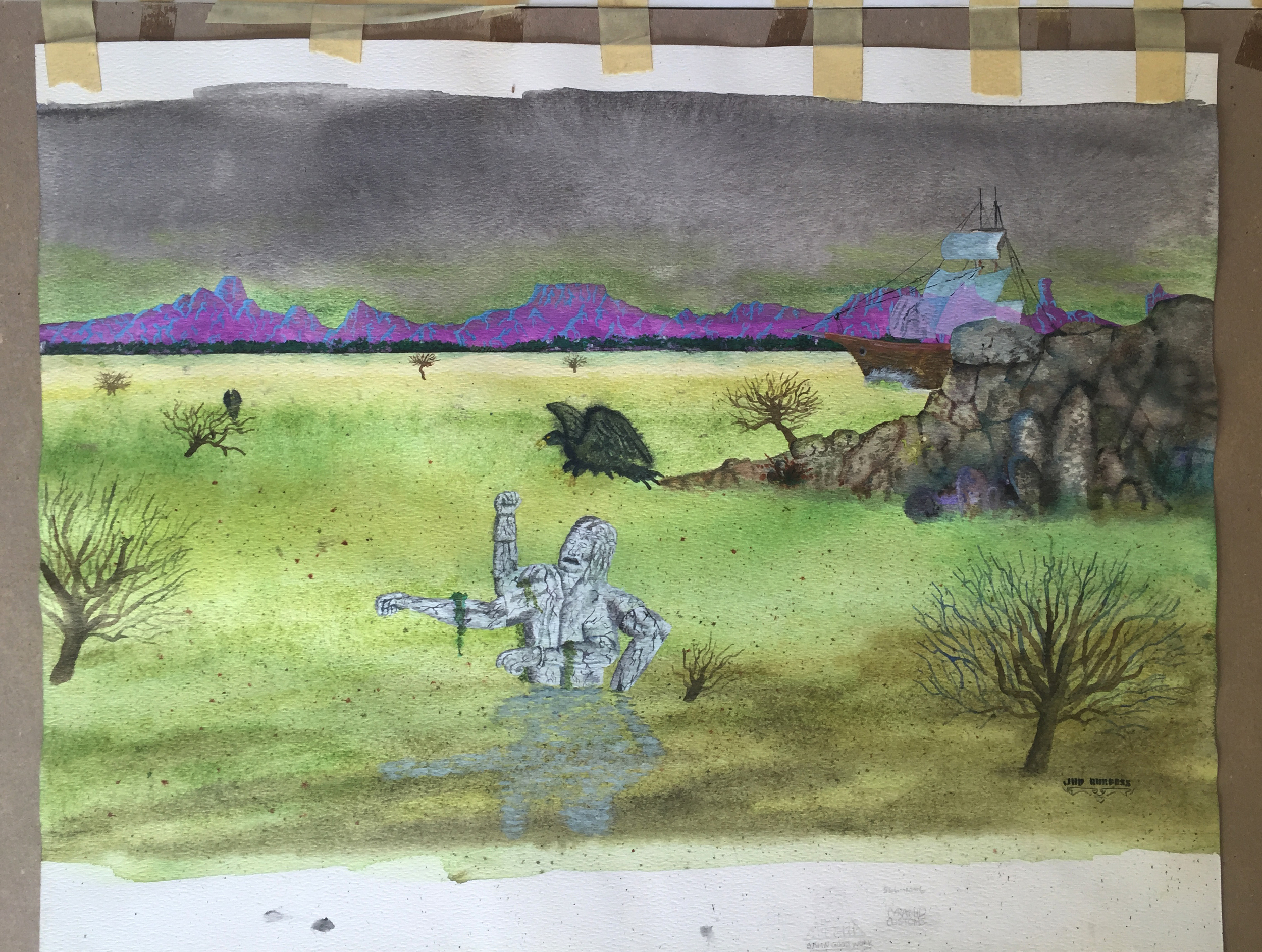 Statue in Bog   Watercolor on paper.  © Jud Burgess  1978