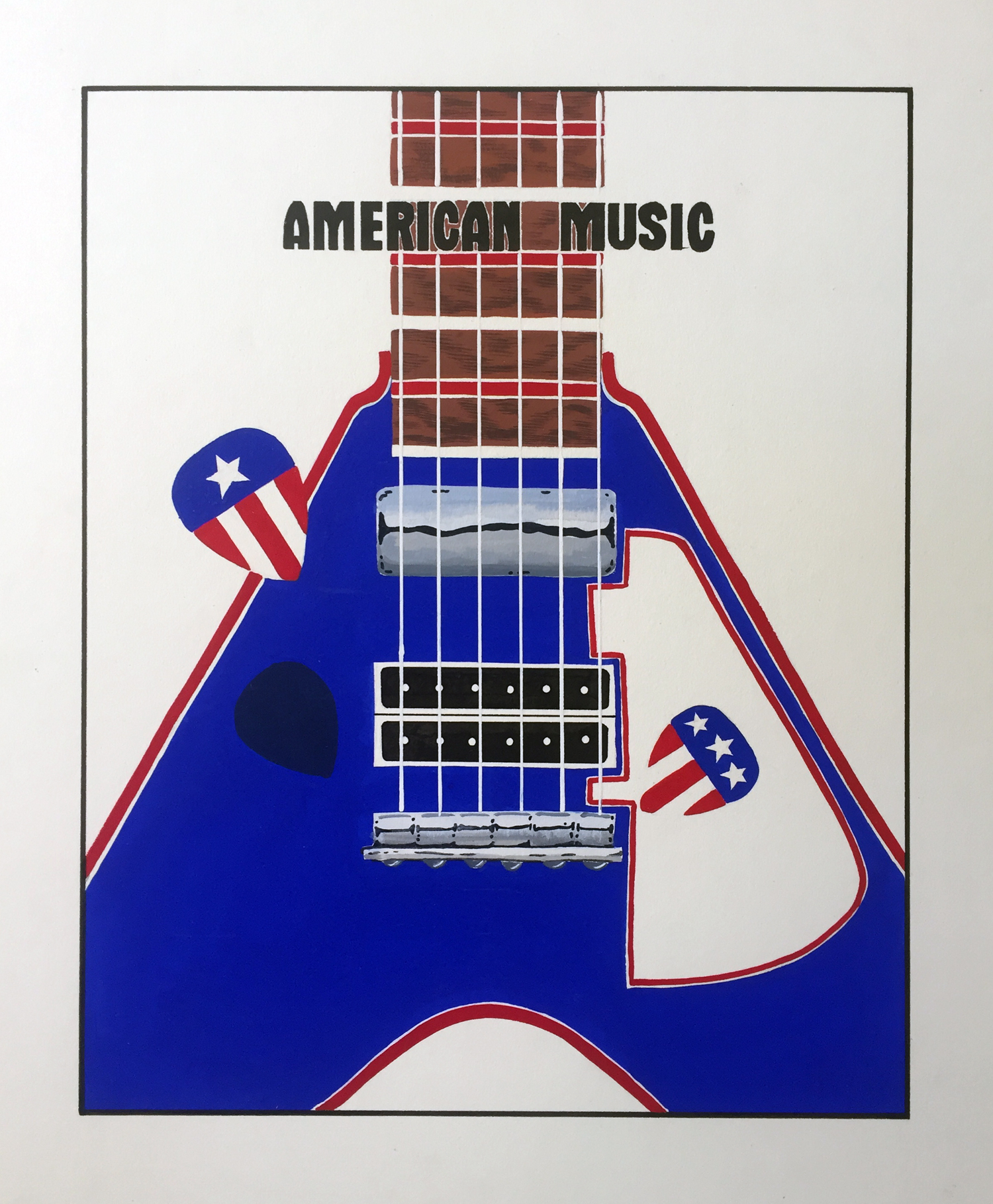 American Music   Gouache and handlettering on coldpress board.   School project at TSTC.     © Jud Burgess  1983