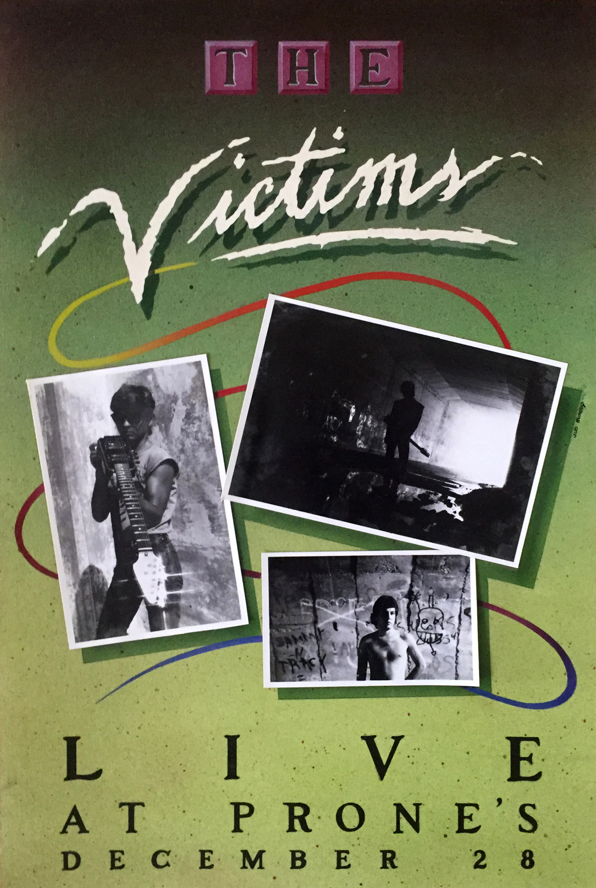 "The Victims   Airbrushed acrylic, hand-inked lettering and applied photographs on coldpress board.  Done in my spare time while at TSTC in Waco, Texas.  My brother Roi   co-led and played lead guitar for a band named The Victims which later became the locally legendary One Second Zero.  I created this ""fake poster"" and incorporated some photography I shot of Roi and him of me.  It won Best of Show at the Addies in Waco.   © Jud Burgess  1984"