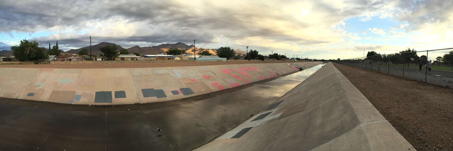 Franklin Mountains and drainage ditch El Paso, Texas © Jud Burgess, August 13, 2016, 6:45 a.m.