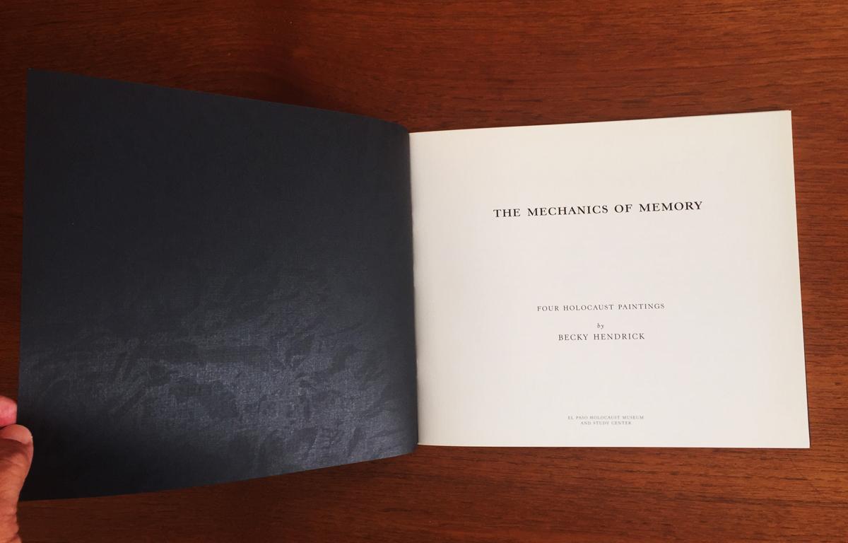 The Mechanics of Memory flyleaf with subtle varnish
