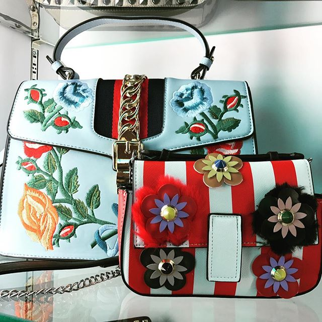 Two new arrivals!  Very on trend.  Blue $138.  Red and white $124.