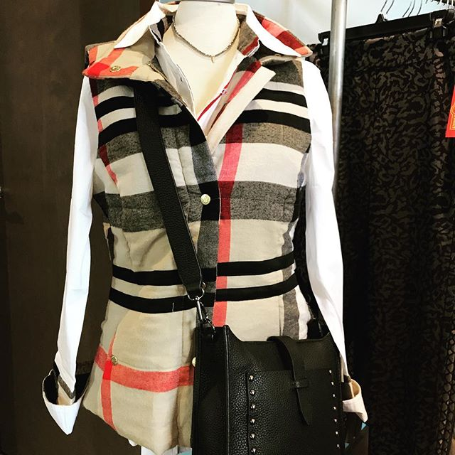 Ready for fall with Dizzy Lizzy's vest $128 and adorable shirt $114. Get your plaid on!