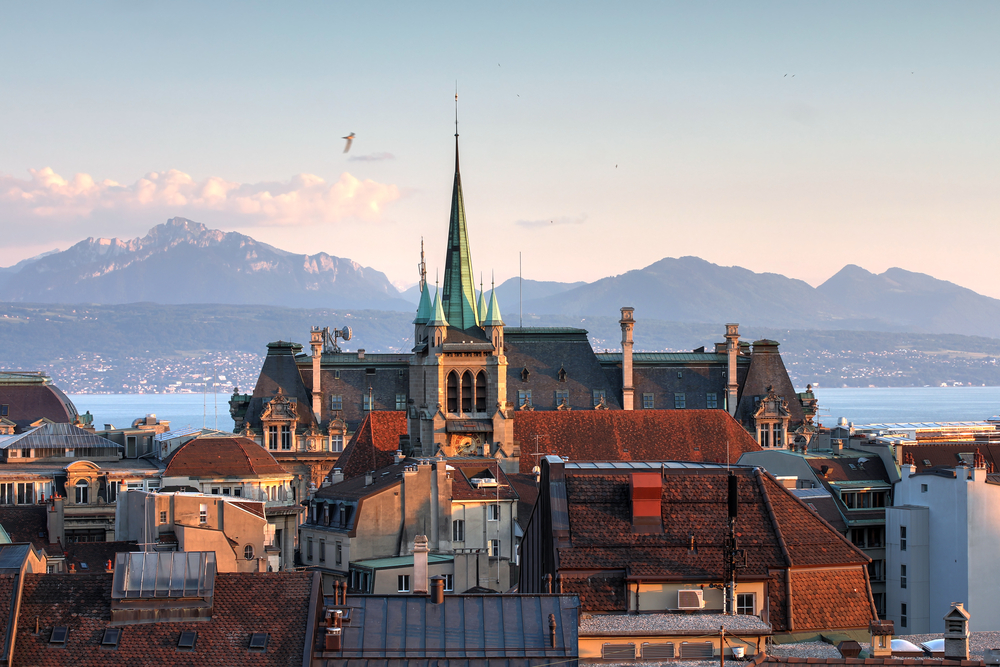 Skyline of Lausanne as seen from the Cathedral Hill at sunsent