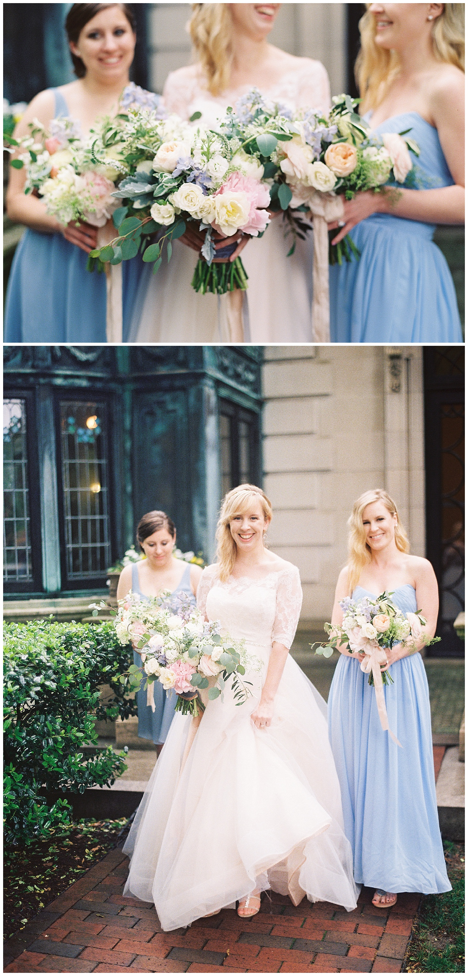 Organic florals and dusty blue dresses are the way to my heart!