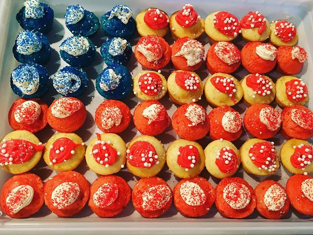 What's a birthday without cupcakes? Come by @saltprovisions and celebrate Americas birthday with a cupcake and 10% off of all of our American Made products this weekend through the 4th! #bethanybeach #4thofjuly #americanmade #sowerethecupcakes #amateurbaker #birthday