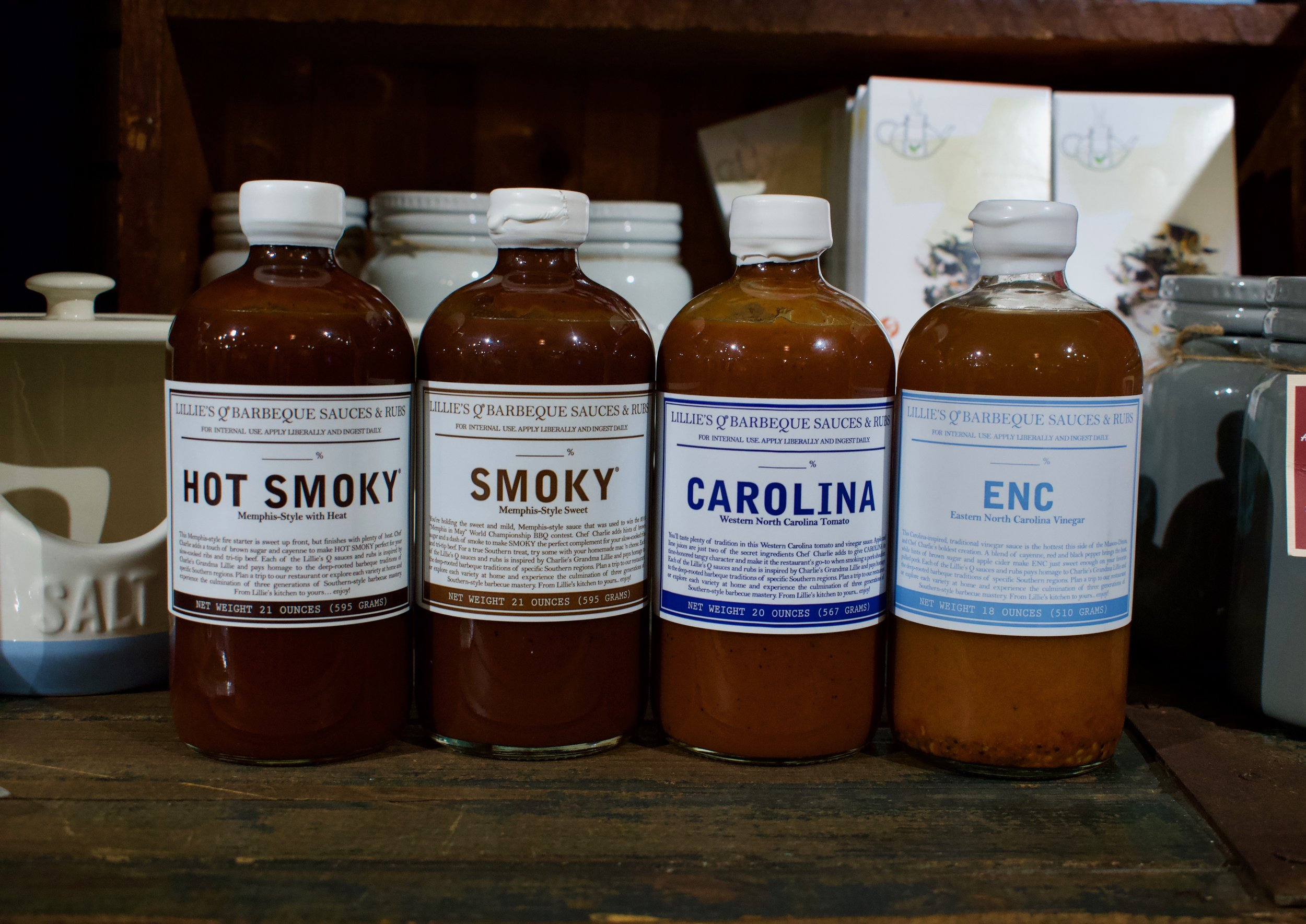 3. BBQ sauces in Memphis style hot-smoky and smoky, Western NC style tomato based, Eastern NC Vinegar based