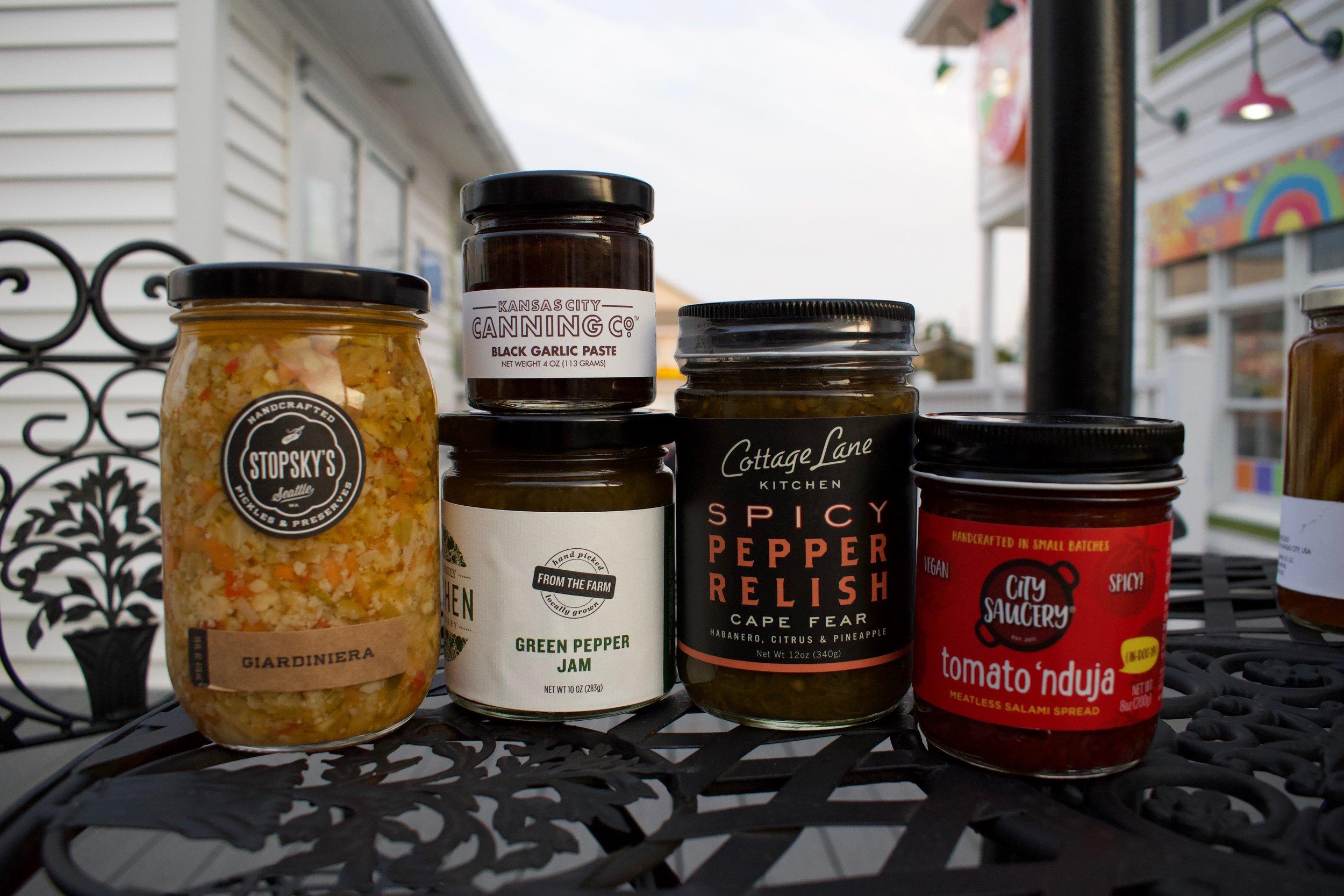 12. Stopsky's Giardiniera, Kansas City Canning co. Black Garlic Paste, Clif Family Kitchen Green Pepper Jam, Cottage Lane Kitchen Spicy Pepper Relish, City Saucery Tomato 'nduja