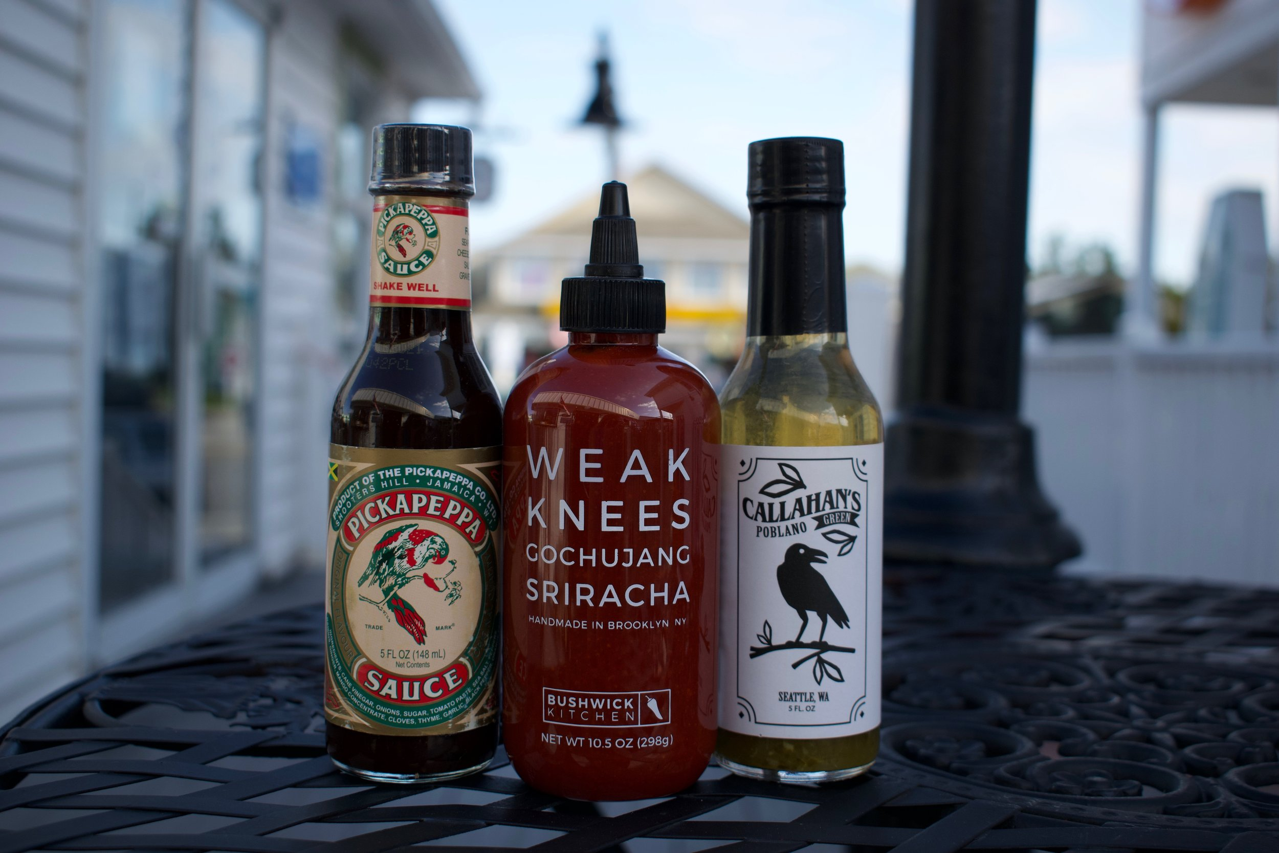 9. Extra hotness: Pickappeppa Sauce, Weak Knees Gochujang Sriracha, and Challahan's Poblano Green