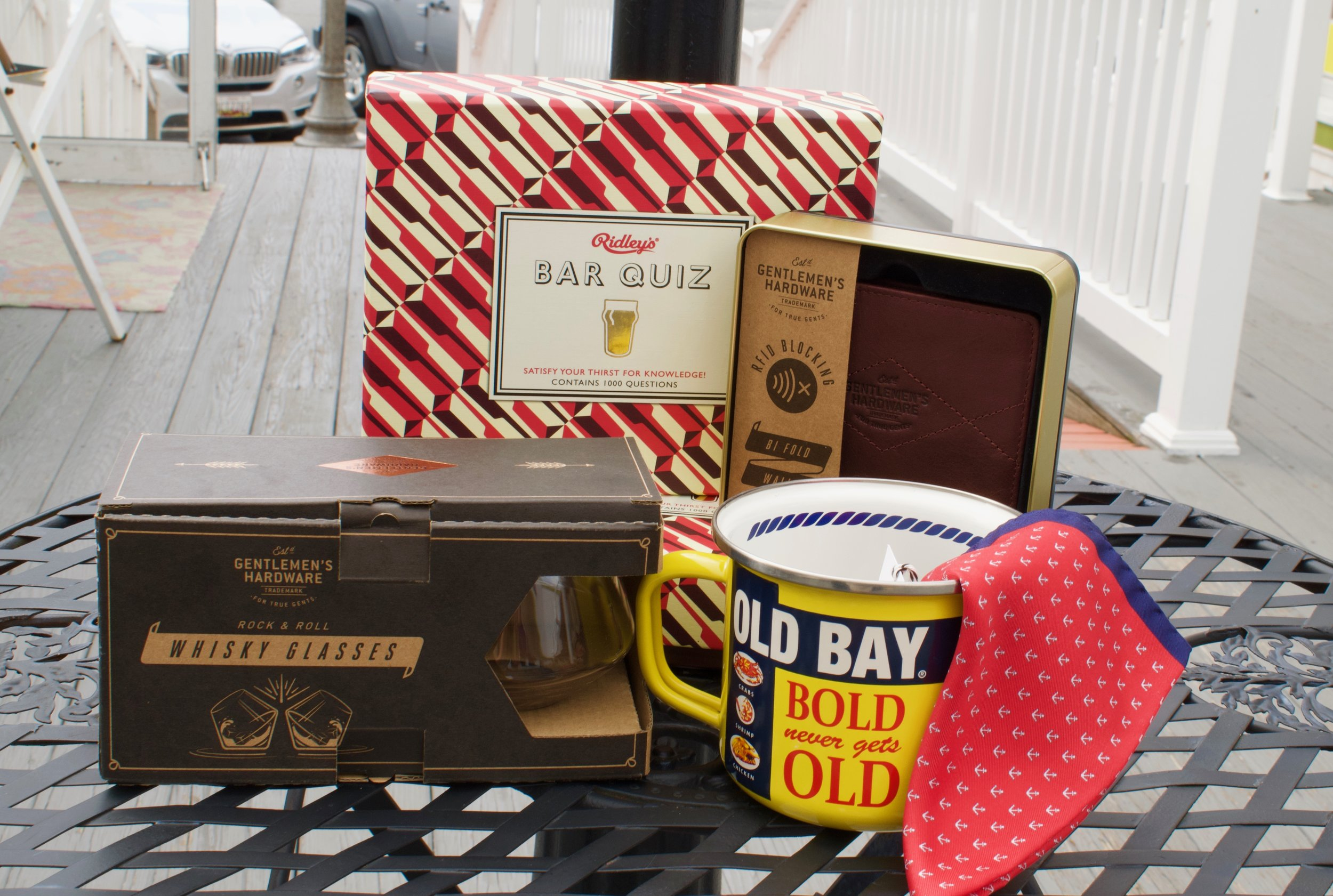 3. Ridley's Bar Quiz, Gentlemen's Hardware Leather Wallet, Gentlemen's Hardware Whisky Glasses, Old Bay Grande Mug, 100% Italian Silk Pocket square