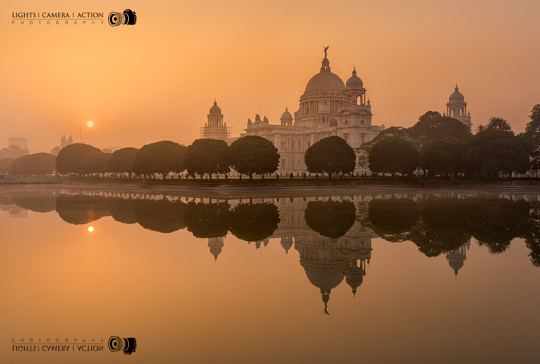 Sunrise at Victoria Memorial, Calcutta, India