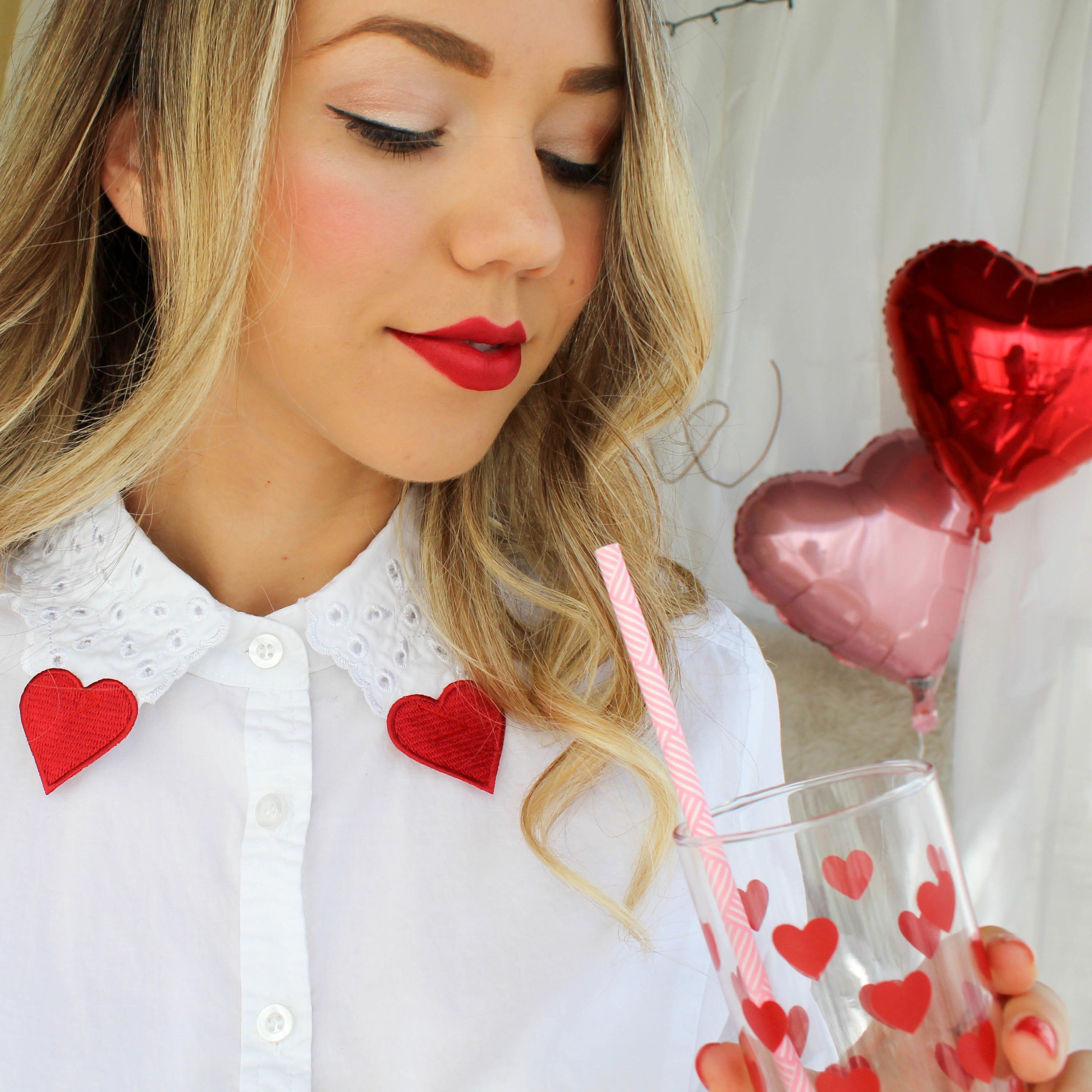 My #ootd featured this DIY heart patch collar that I made with a thrifted blouse and sew-on heart patches!