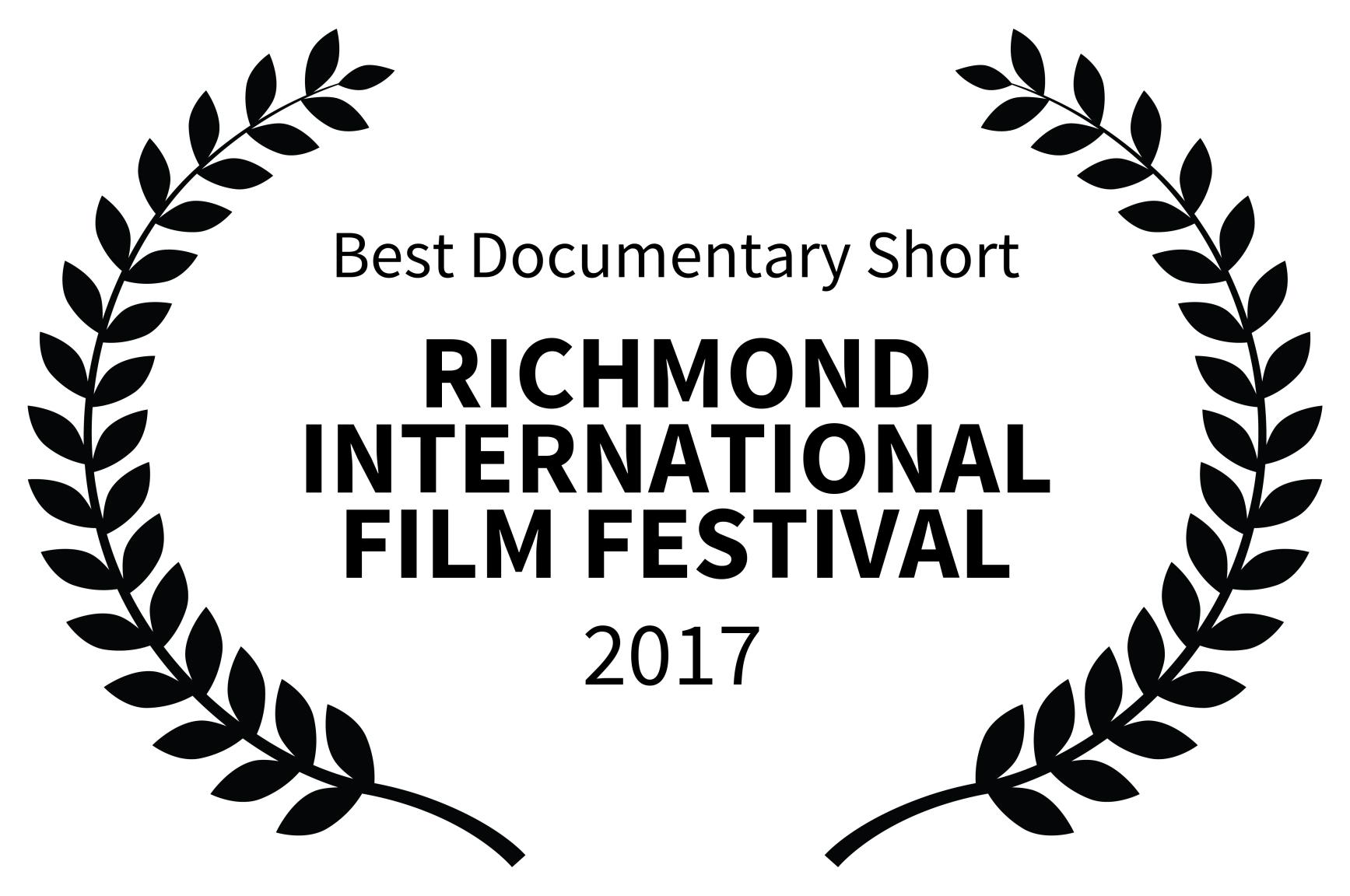 Best Documentary Short - RICHMOND INTERNATIONAL FILM FESTIVAL - 2017.jpg
