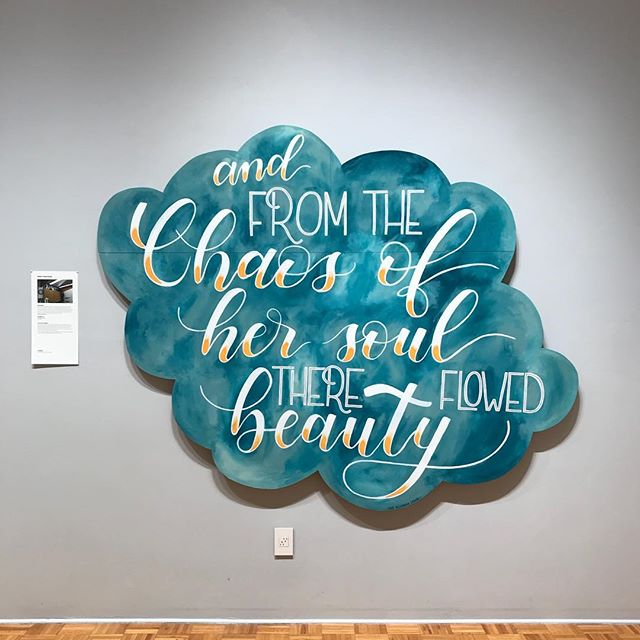 "My newest piece is up at The Brandstater Gallery! Swing by to check it out! It will be up till December 7. — This is a wooden panel painted with acrylic house paint. Shaped and cut to size of 7'3"" x 5'9"" — #brandstatergallery #ladieswhopaint"