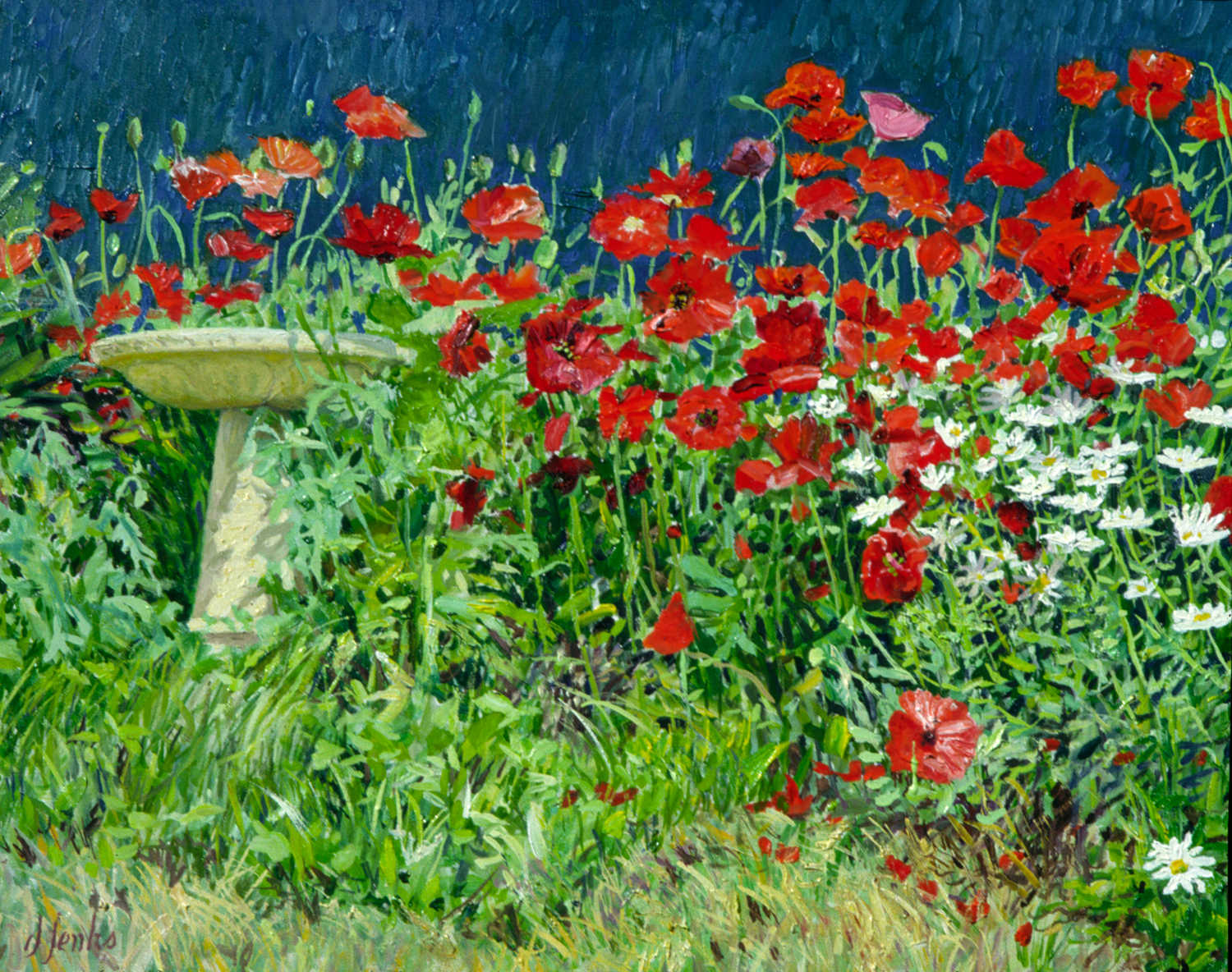Birdbath in the Poppies