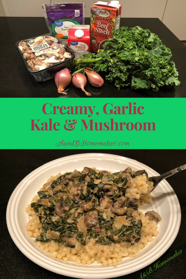 Creamy, garlic kale and mushroom sauce over pearled couscous