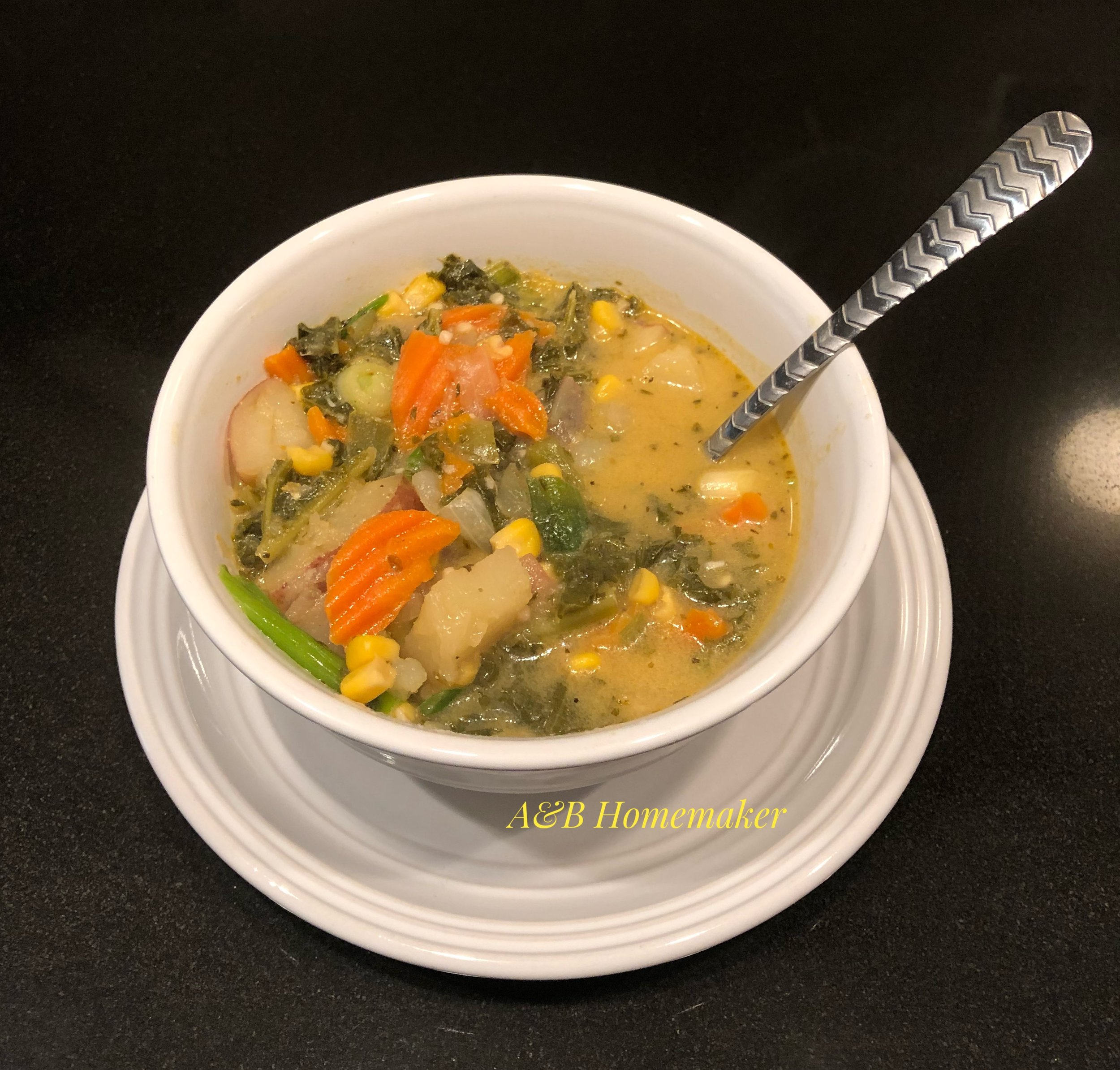 Kale and Corn Chowder Soup
