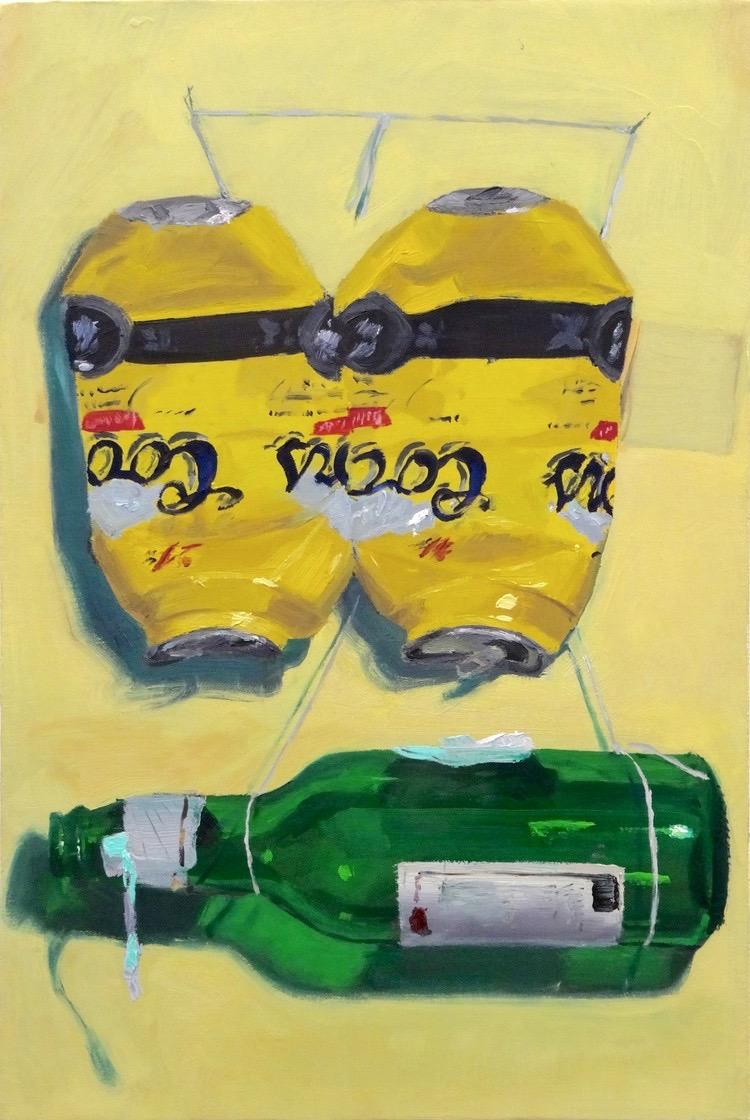 "Yellow-Green Still-life (Rothko in a Bottle) 2015 12""x18"""