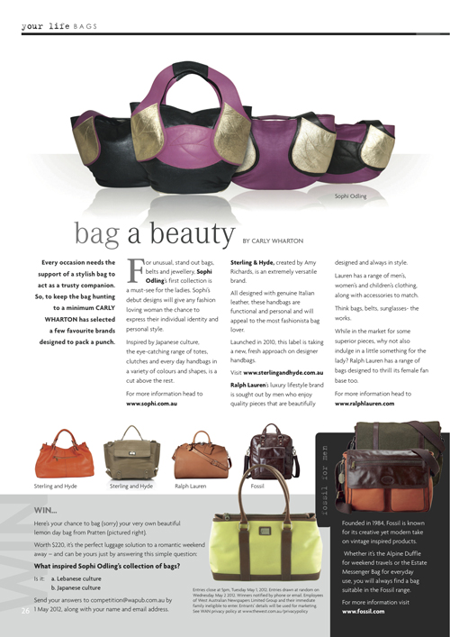 MINESTYLE MARCH 2012  Leaf Tote Range